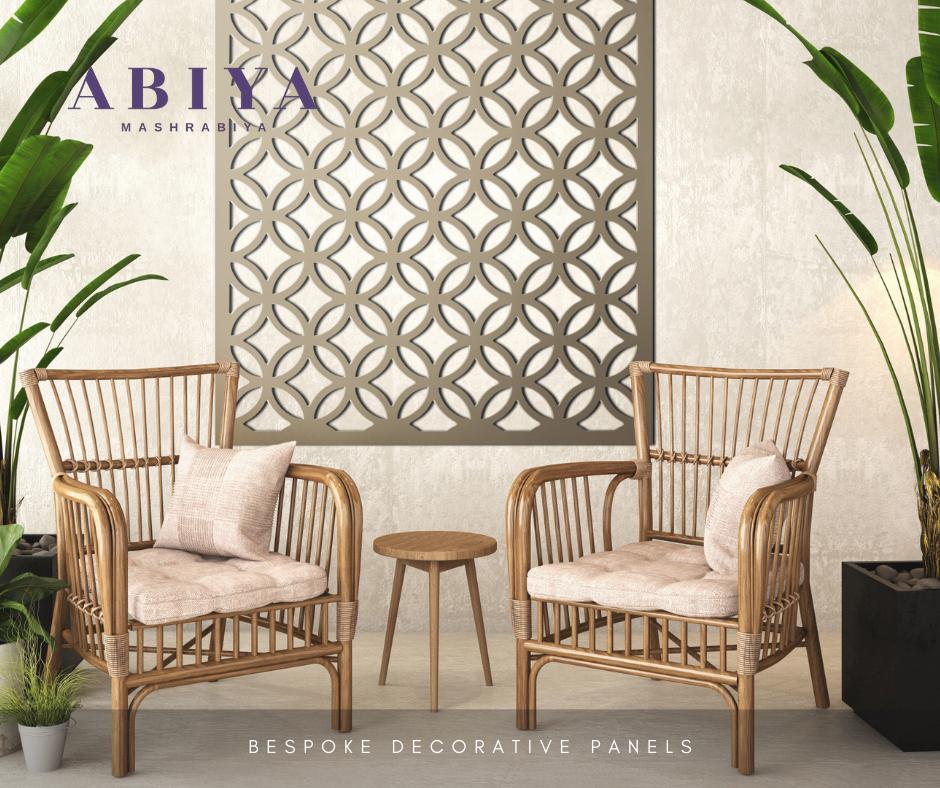 Rattan Furniture with a Wall Decor by ABIYA-Metal Decorative Laser Cut Screen & Panels-Modern Mashrabiya