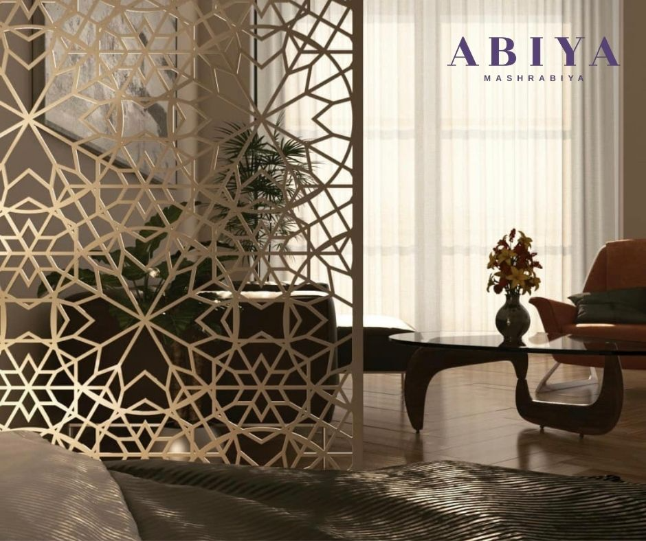 ABIYA Customized Decorative Metal Laser Cut Panels used as a room divider