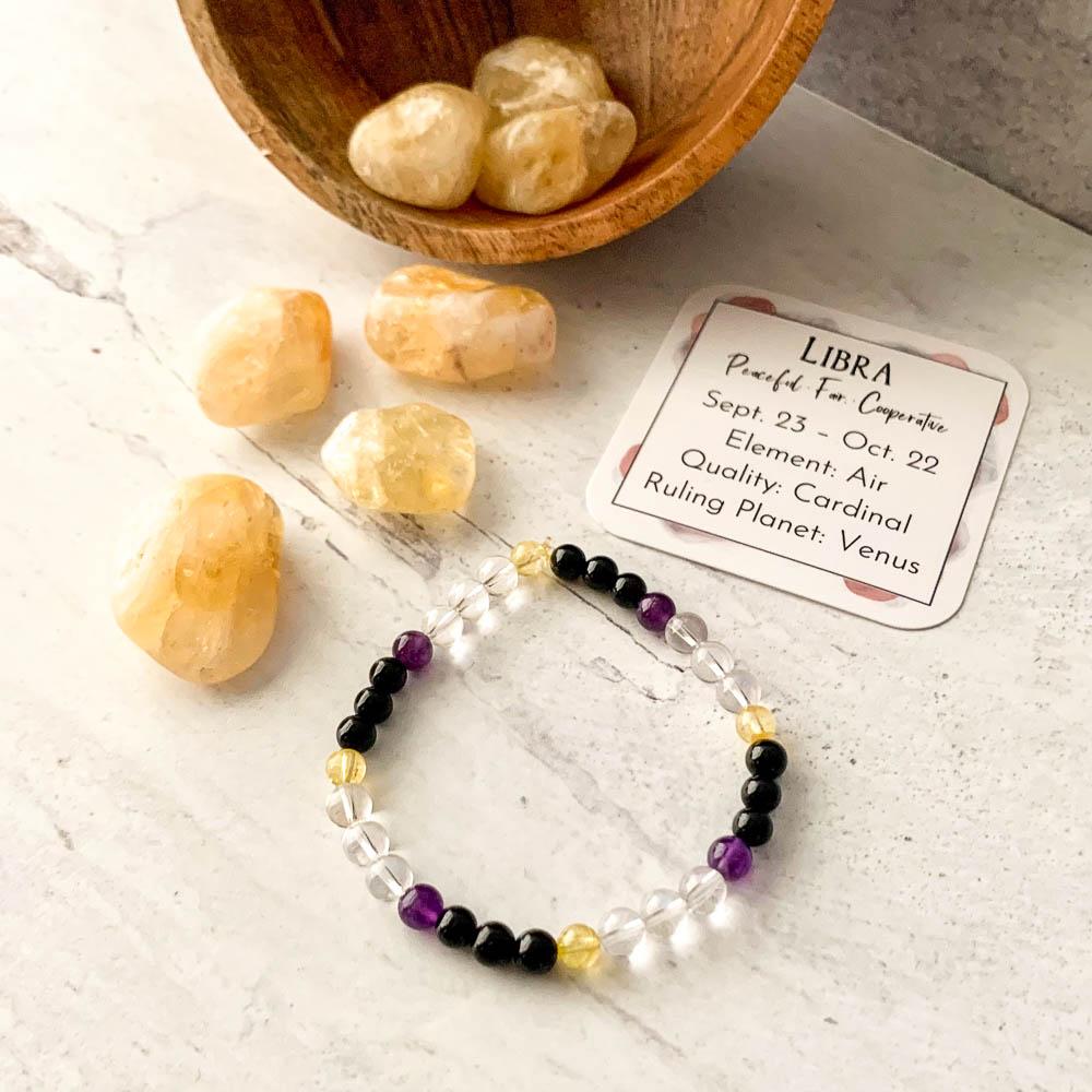 libra crystal zodiac bracelet with amethyst citrine black tourmaline clear quartz