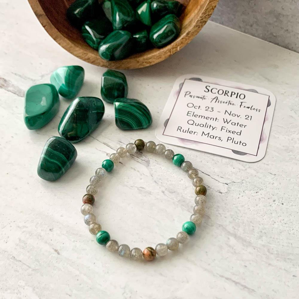 scorpio crystal zodiac bracelet with unakite malachite and labradorite