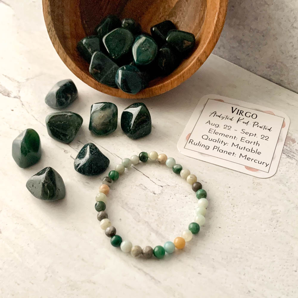 virgo crystal zodiac bracelet ancient element creations