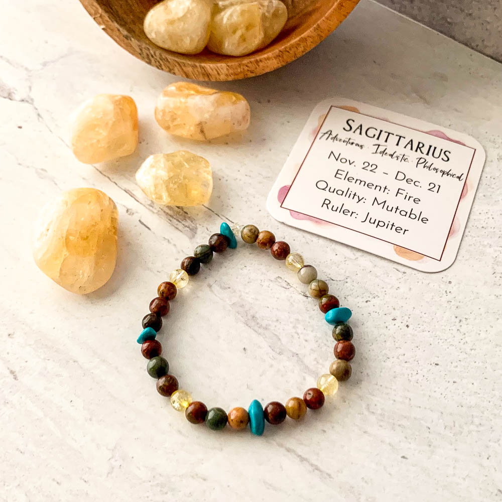 sagittarius zodiac crystal bracelet with picasso jasper turquoise and citrine