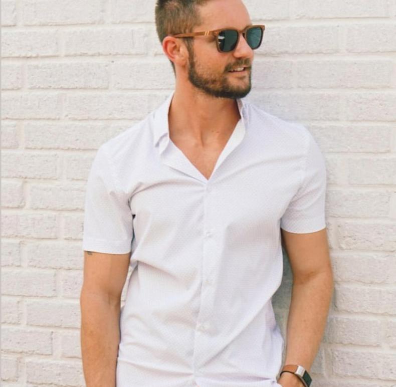 Man wearing white button down shirt and wood sunglasses from Ella Bing Haberdashery