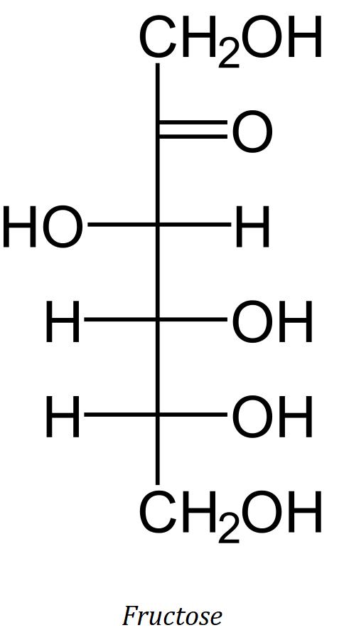 molécule de fructose, un glucide simple