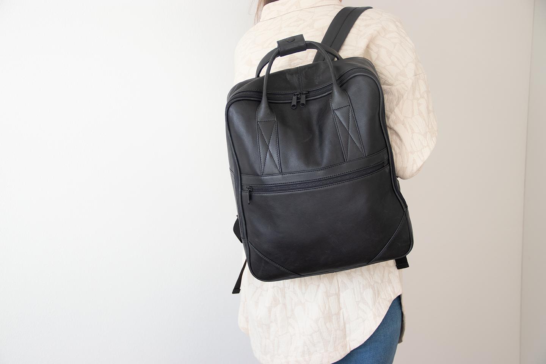 Stor rygsæk med hanke læderrygsæk til computer herre og dame