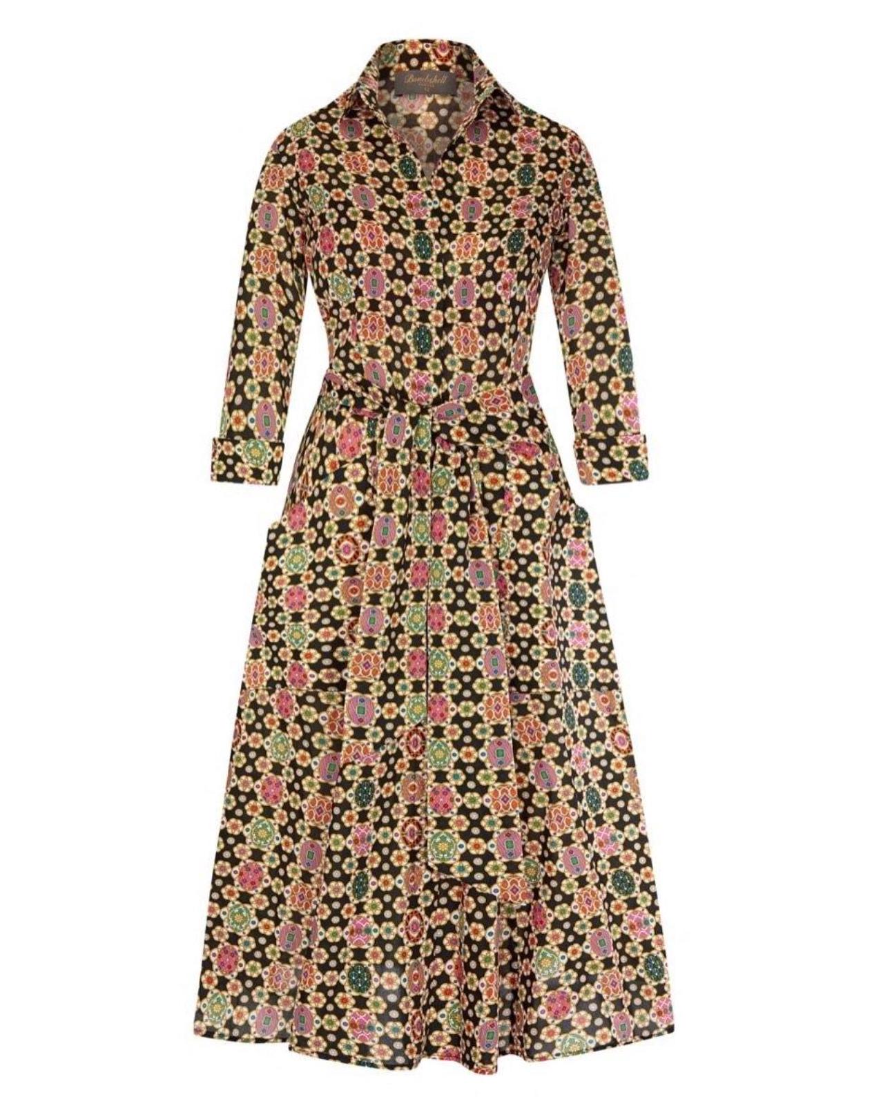 Liberty print big tummy concealing dress