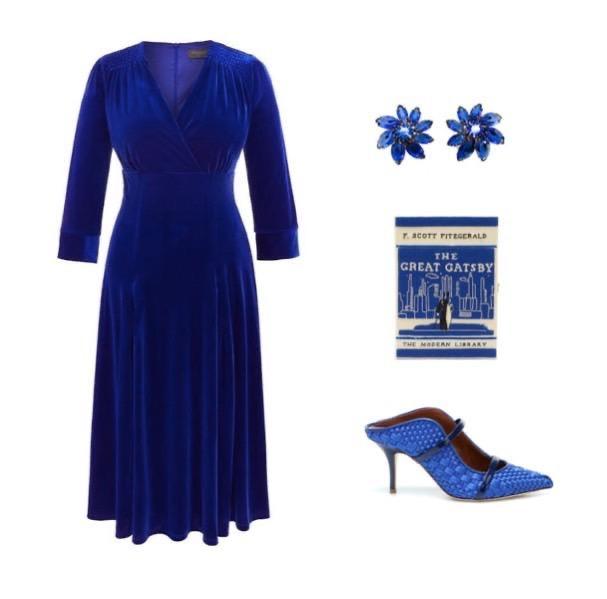 Bright Blue Velvet Tea Dress