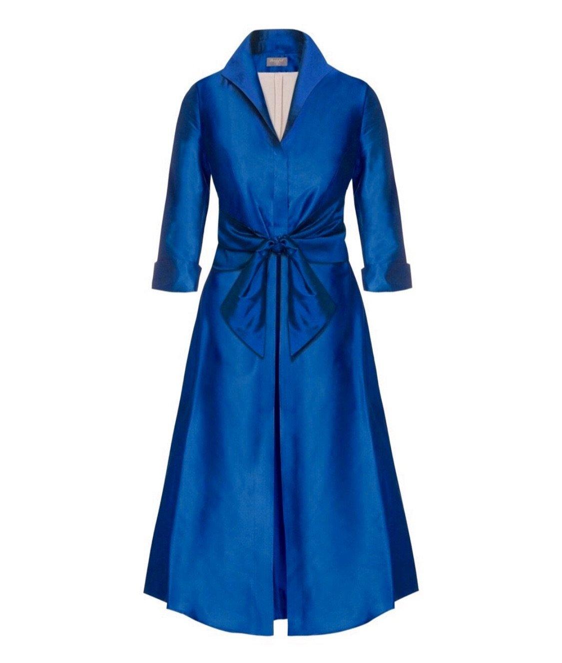 Pacific Blue Silk Dupion Grace dress