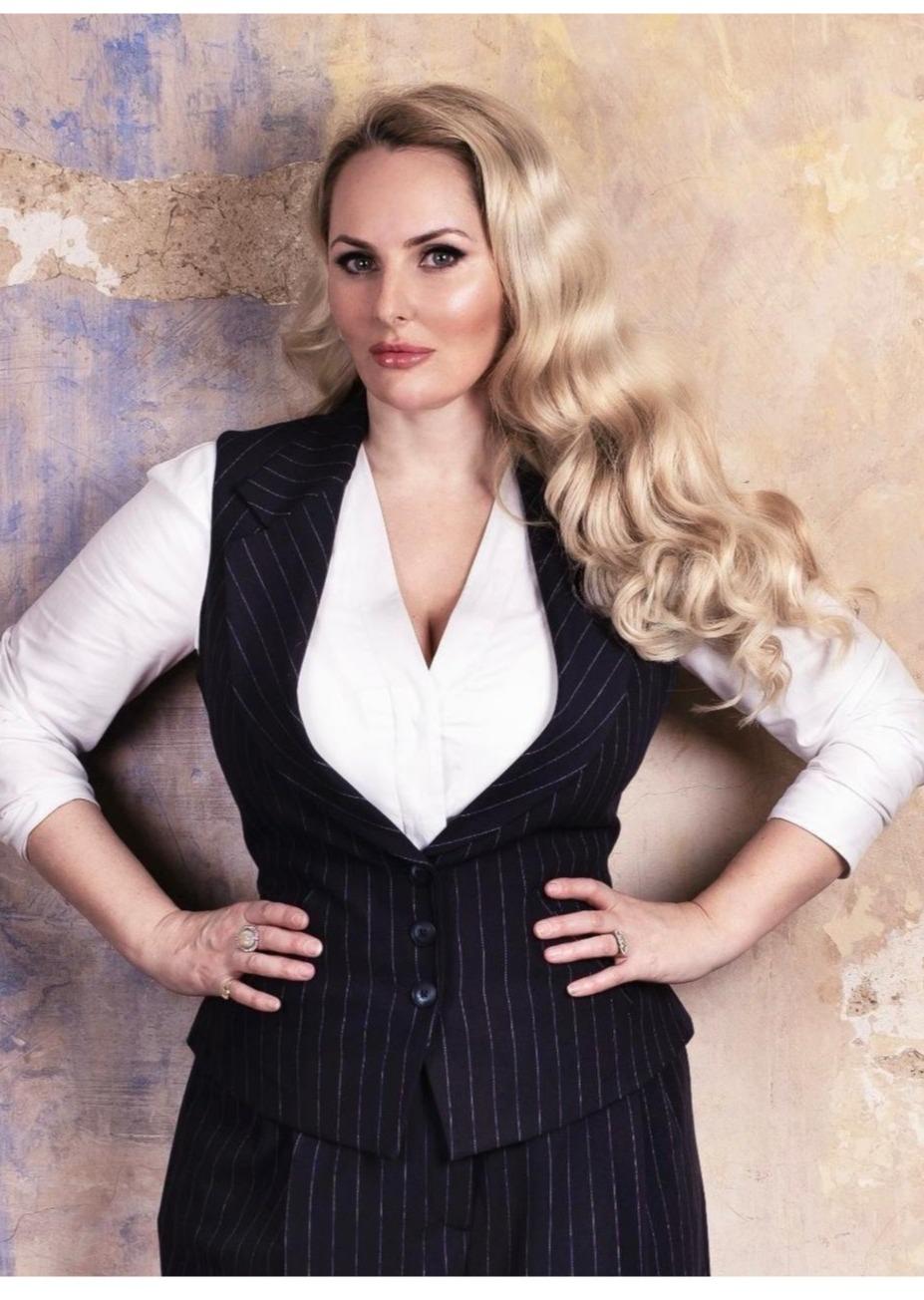 Women's pinstripe three piece suit