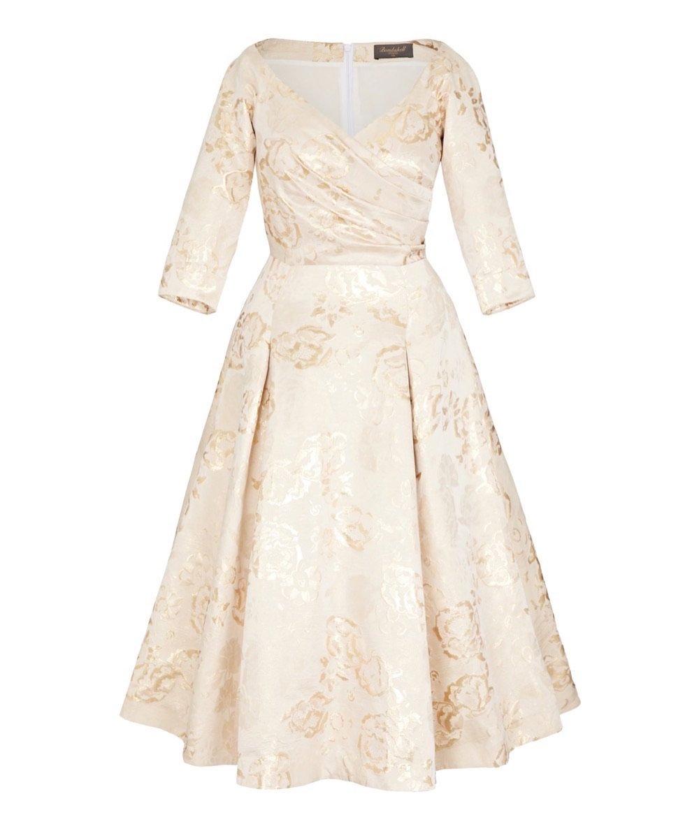 Gold Edge of the Shoulder Dress