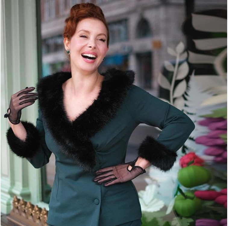 Bombshell's Racing Green Faux Fur Trim Jacket perfect for Goodwood Revival