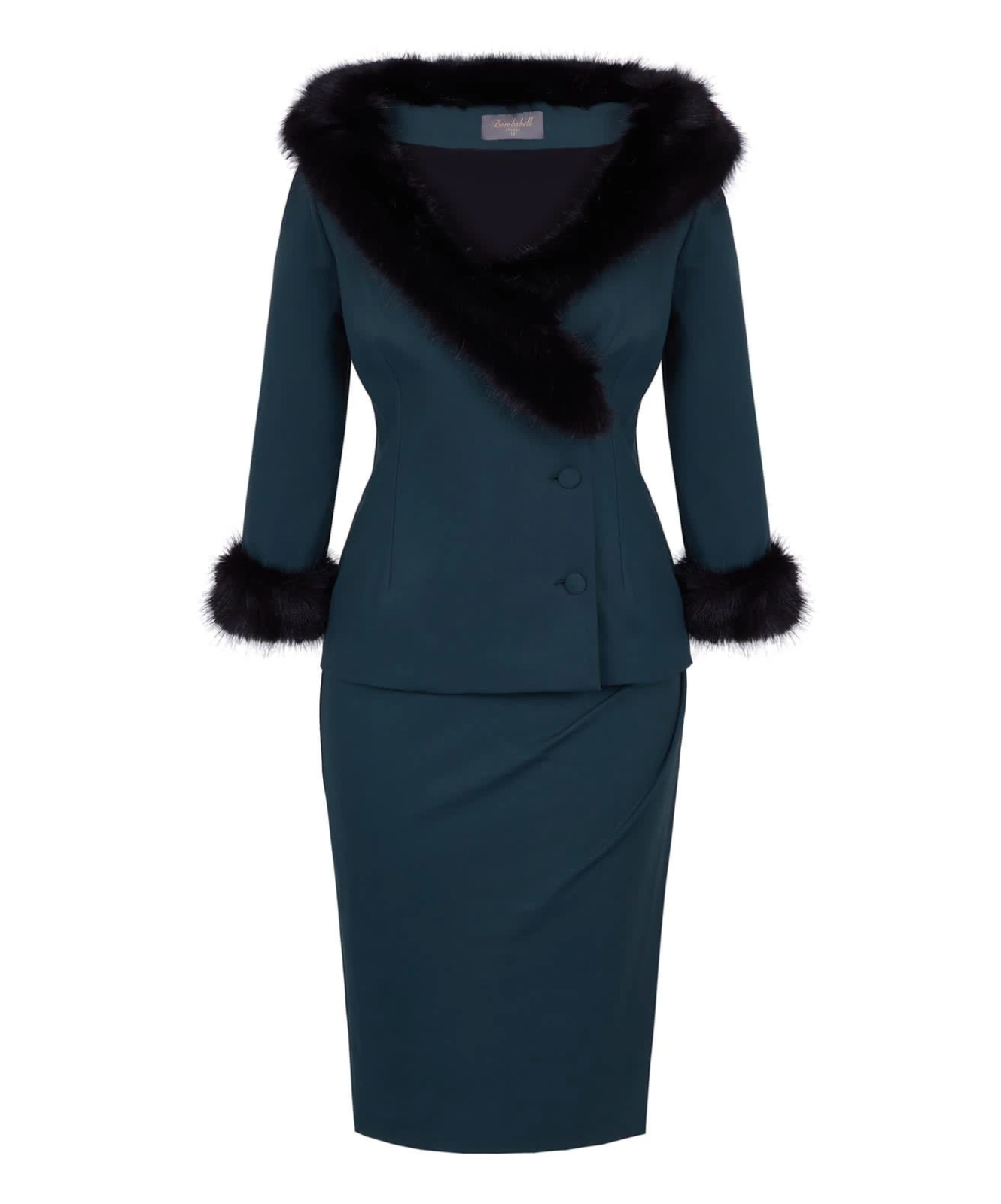 Dark Green Fitted Jacket for a Big Bust
