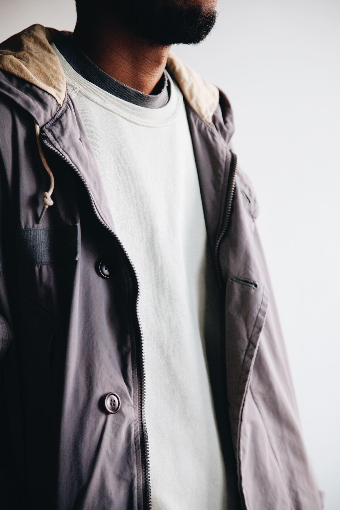 hender scheme 2 tone wool cap, visvim patterson overcoat, velva sheen freedom sweatshirt on body