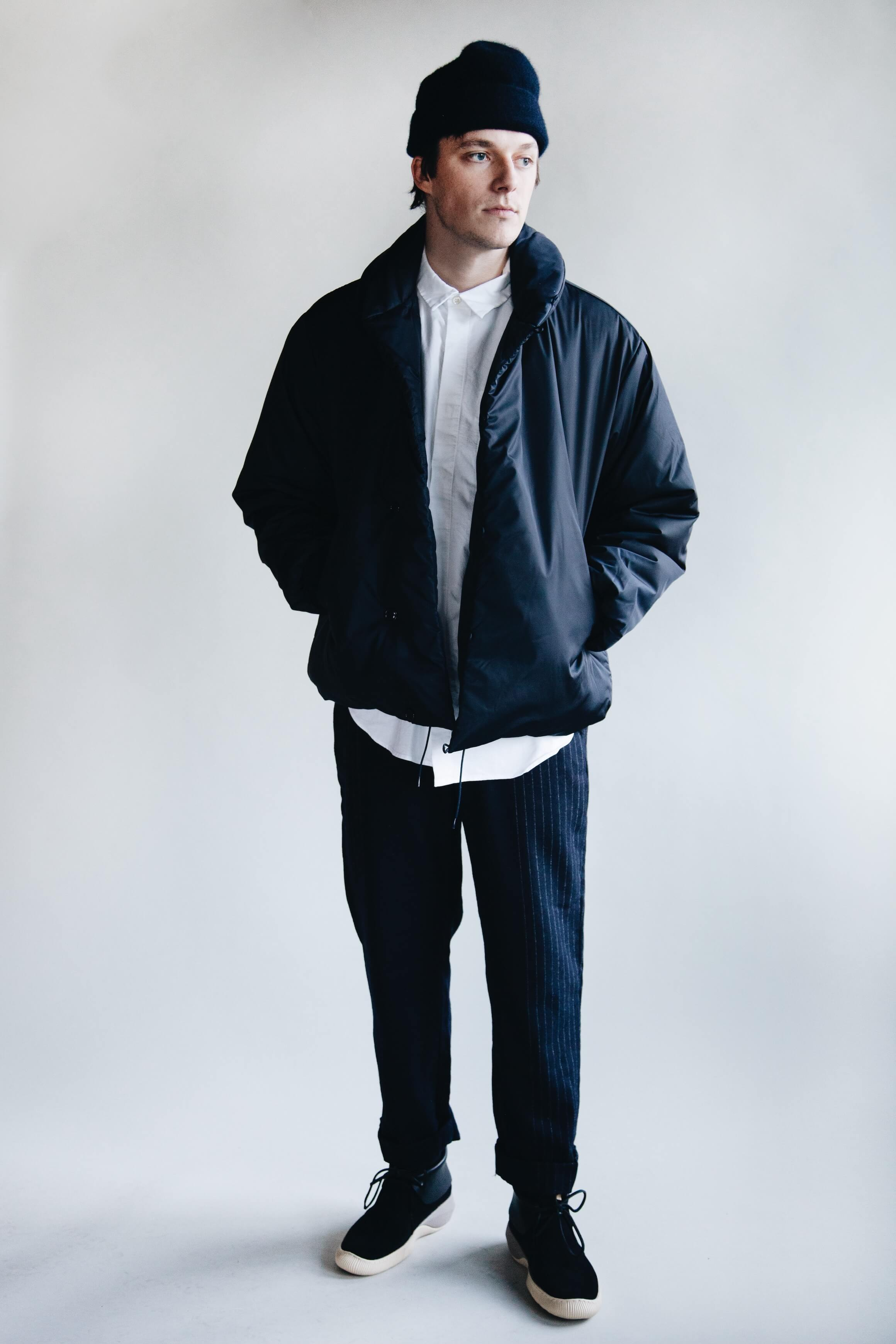 cableami cashmere beanie, arpenteur loft j. jacket, engineered garments short collar shirt and andover pants and visvim ute moc trainer shoes on body