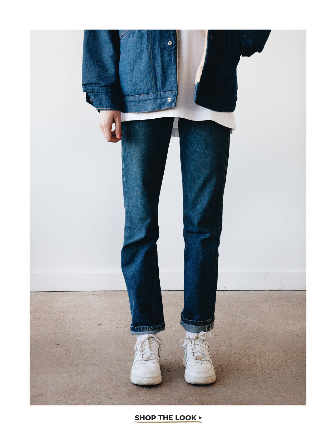 orslow denim jacket, comme des garcons shirt turkish tee and levi's vintage clothing 1954 501 jeans on body