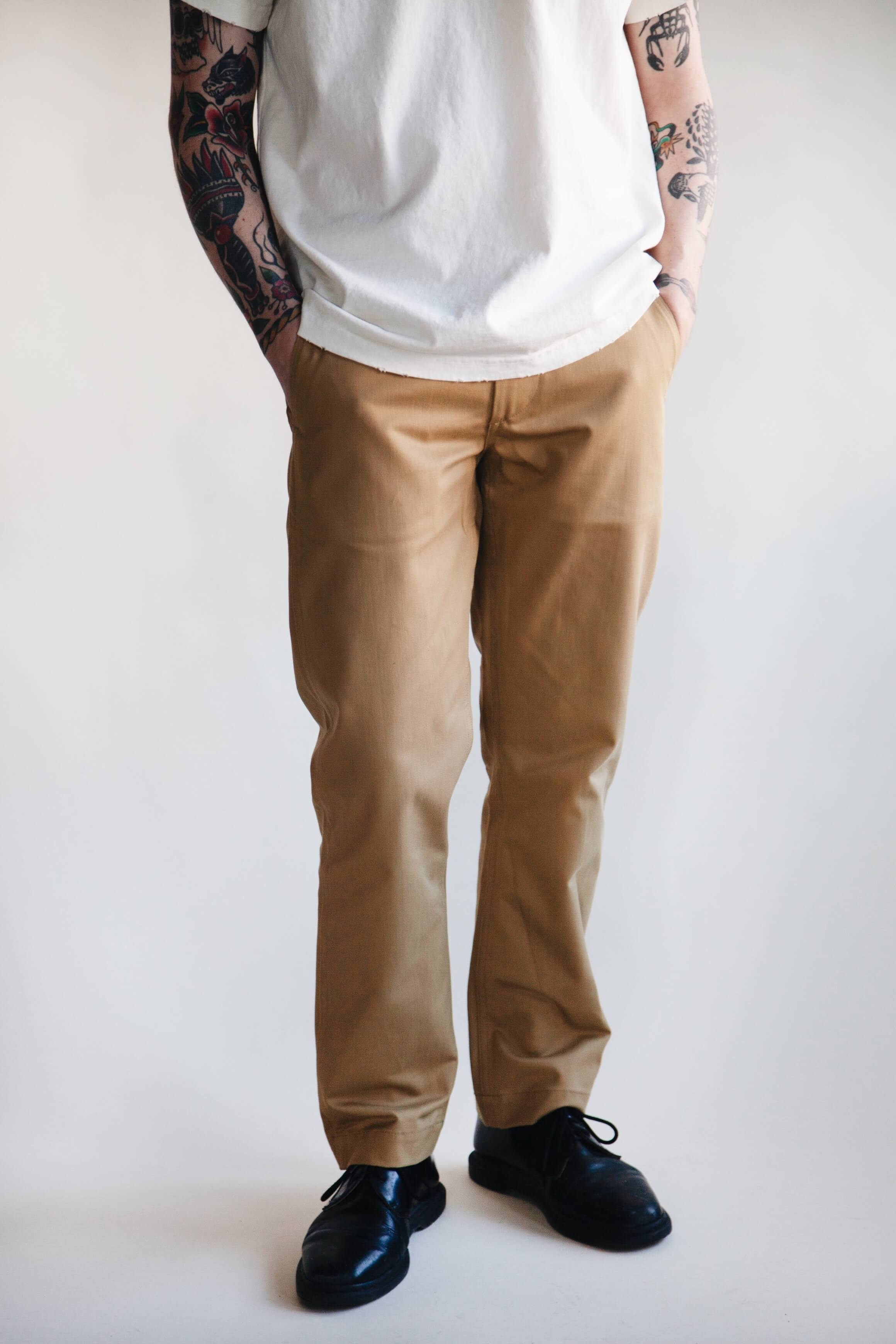 orslow slim fit army trousers - khaki on male model