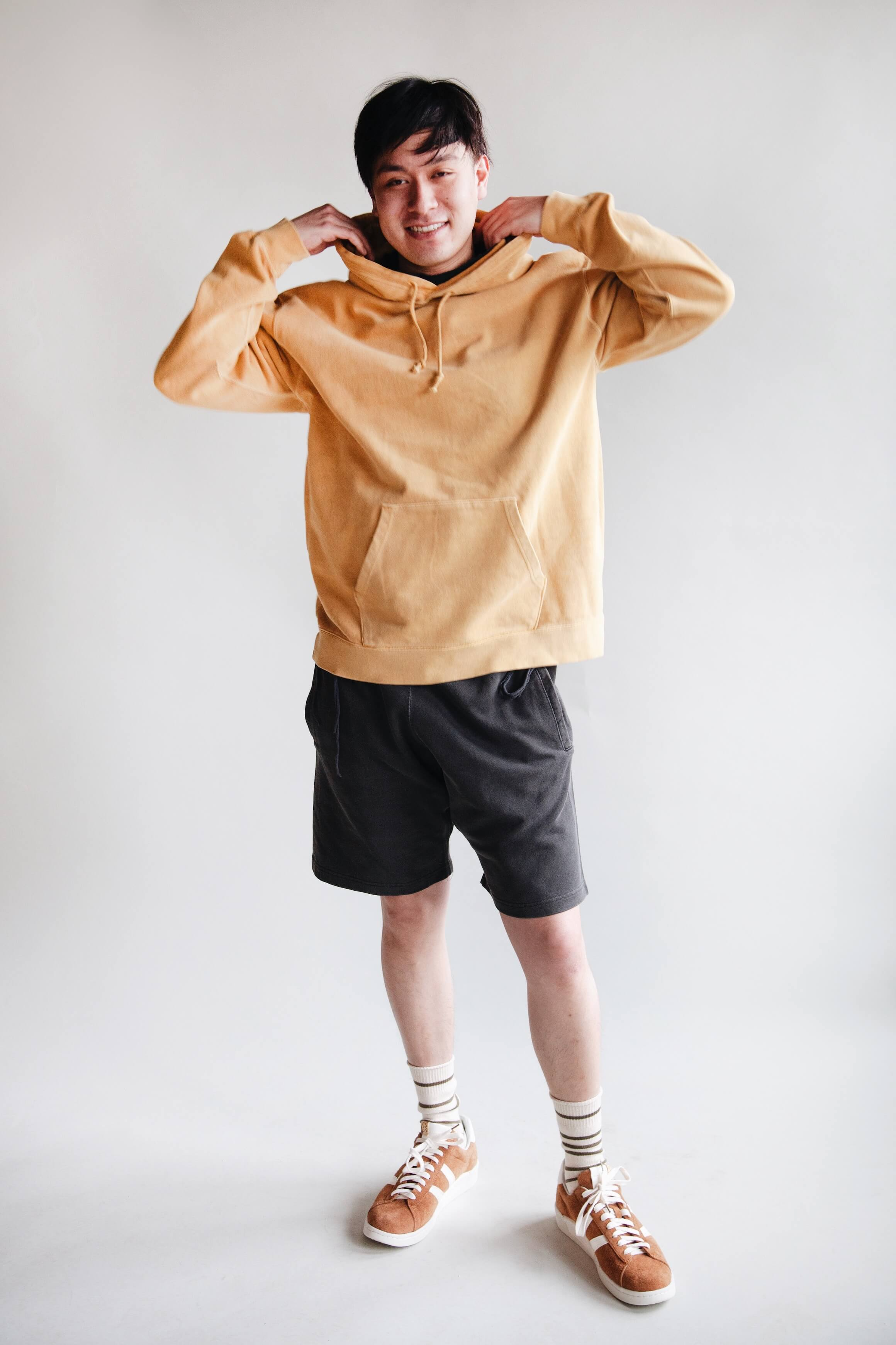 beams plus pullover hoodie and athletic shorts, anonymous ism recycled cotton stripe 3q socks and visvim corda folk shoes on body