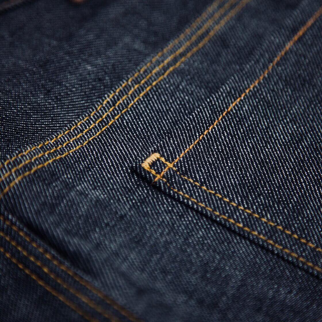 bartacking on back pocket of jeans