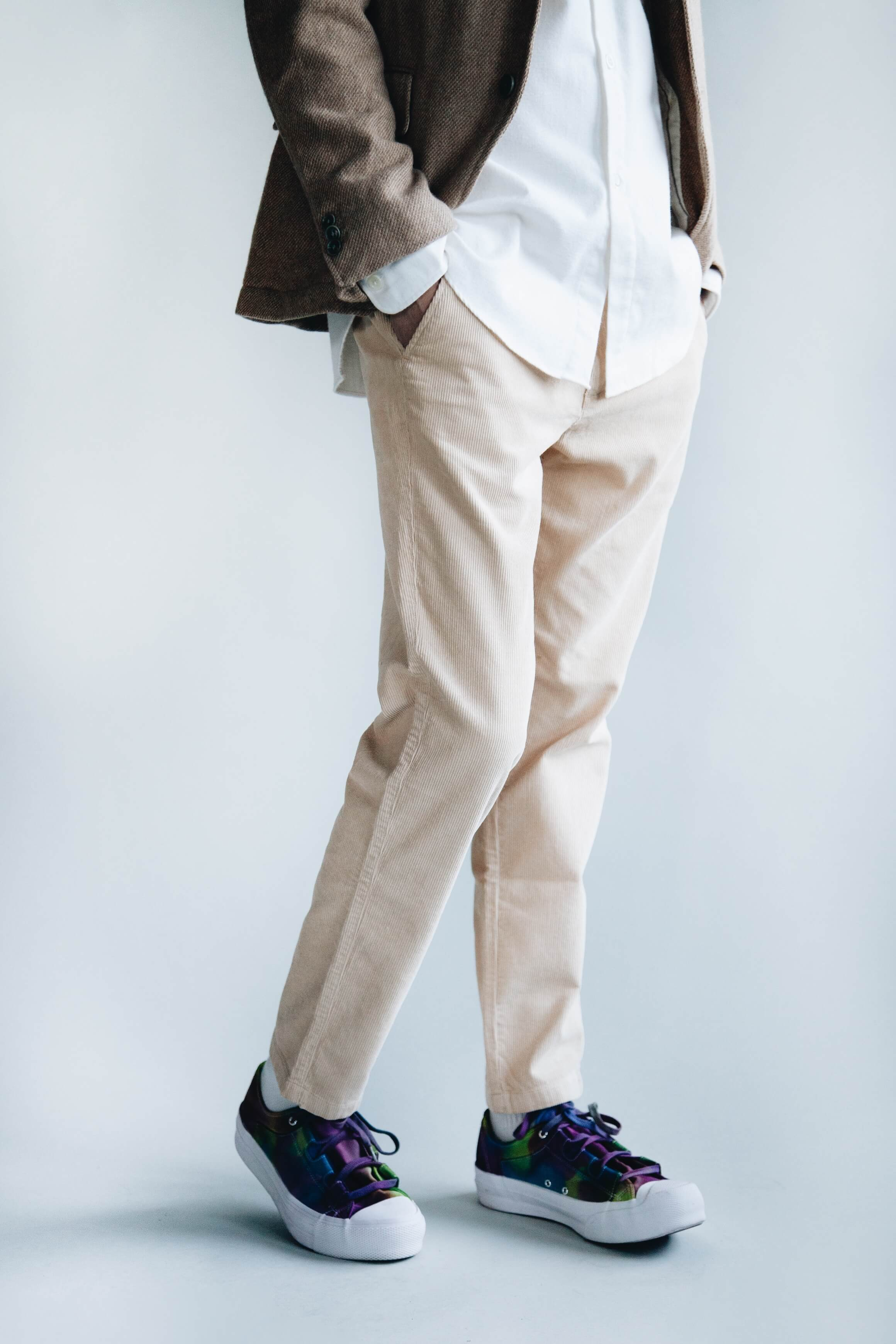 full count wool blazer, arpenteur doris shirt, la paz chinos and needles japan asymmetric ghillie sneakers on body