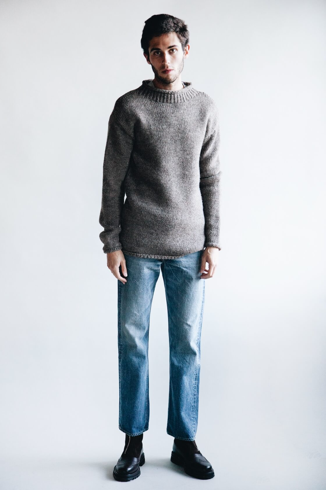 full count old fisherman wool sweater, full count 1101 dartford denim and hender scheme epic suede boots on body