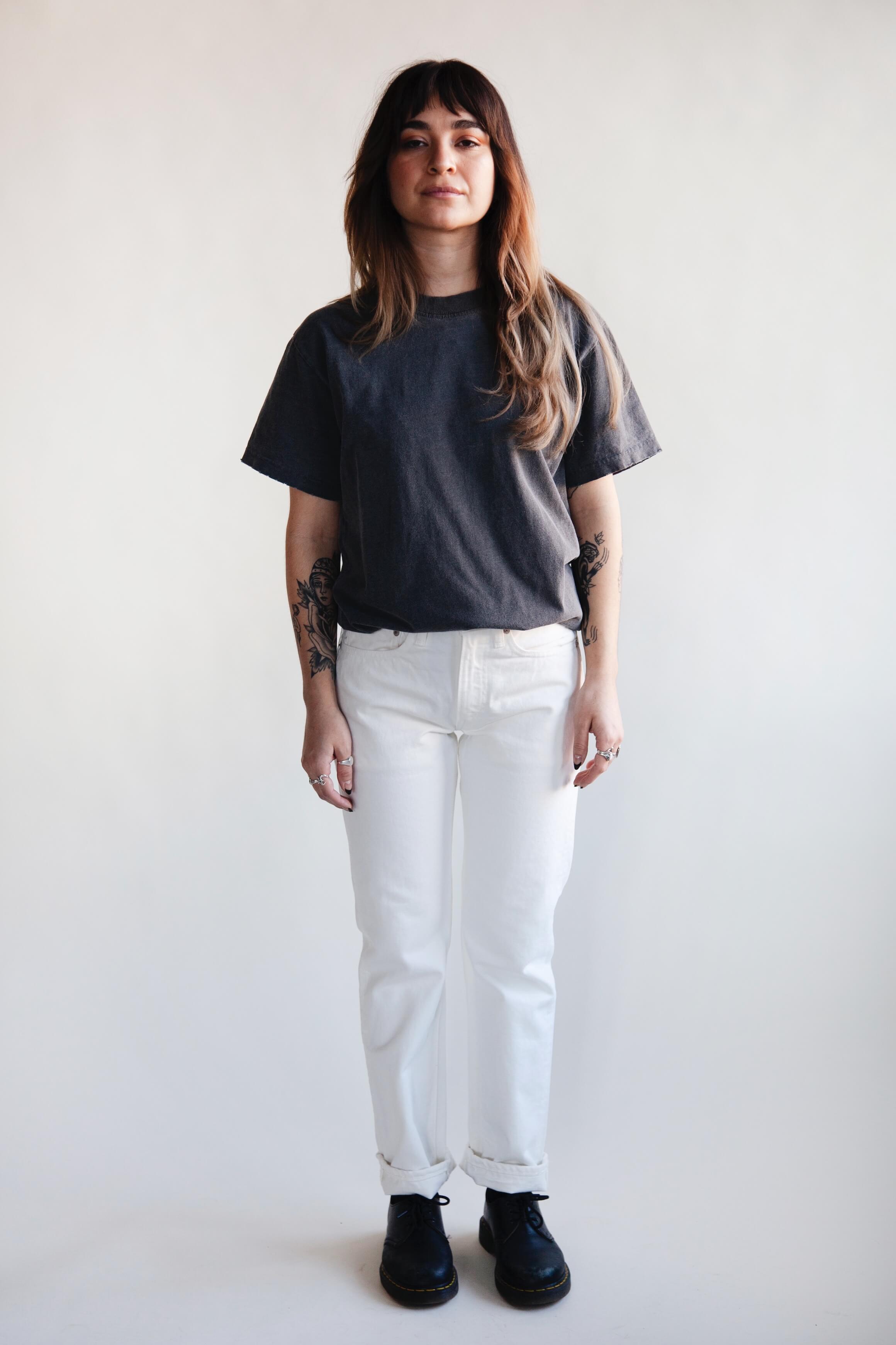 orslow 107 Ivy Denim - White on female model