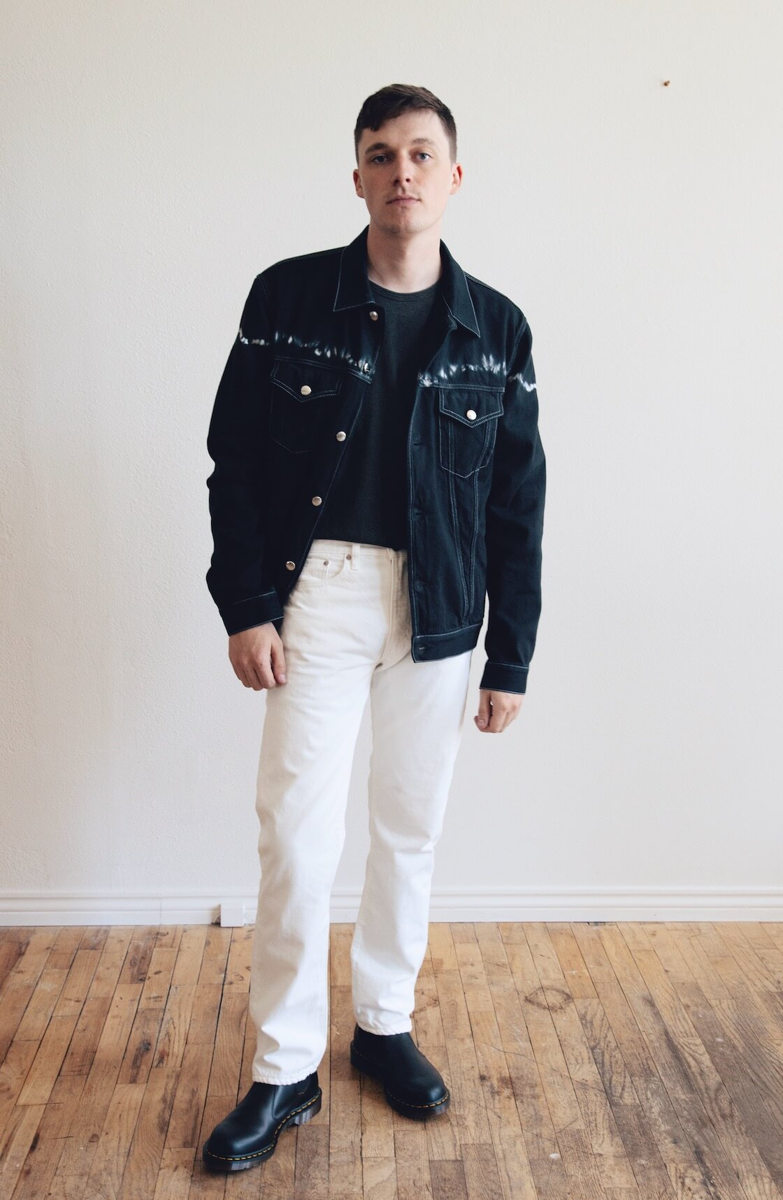 marni denim jacket, lady white co. our t-shirt, orslow 107 ivy denim and dr. martens made in england 2976 boots on body