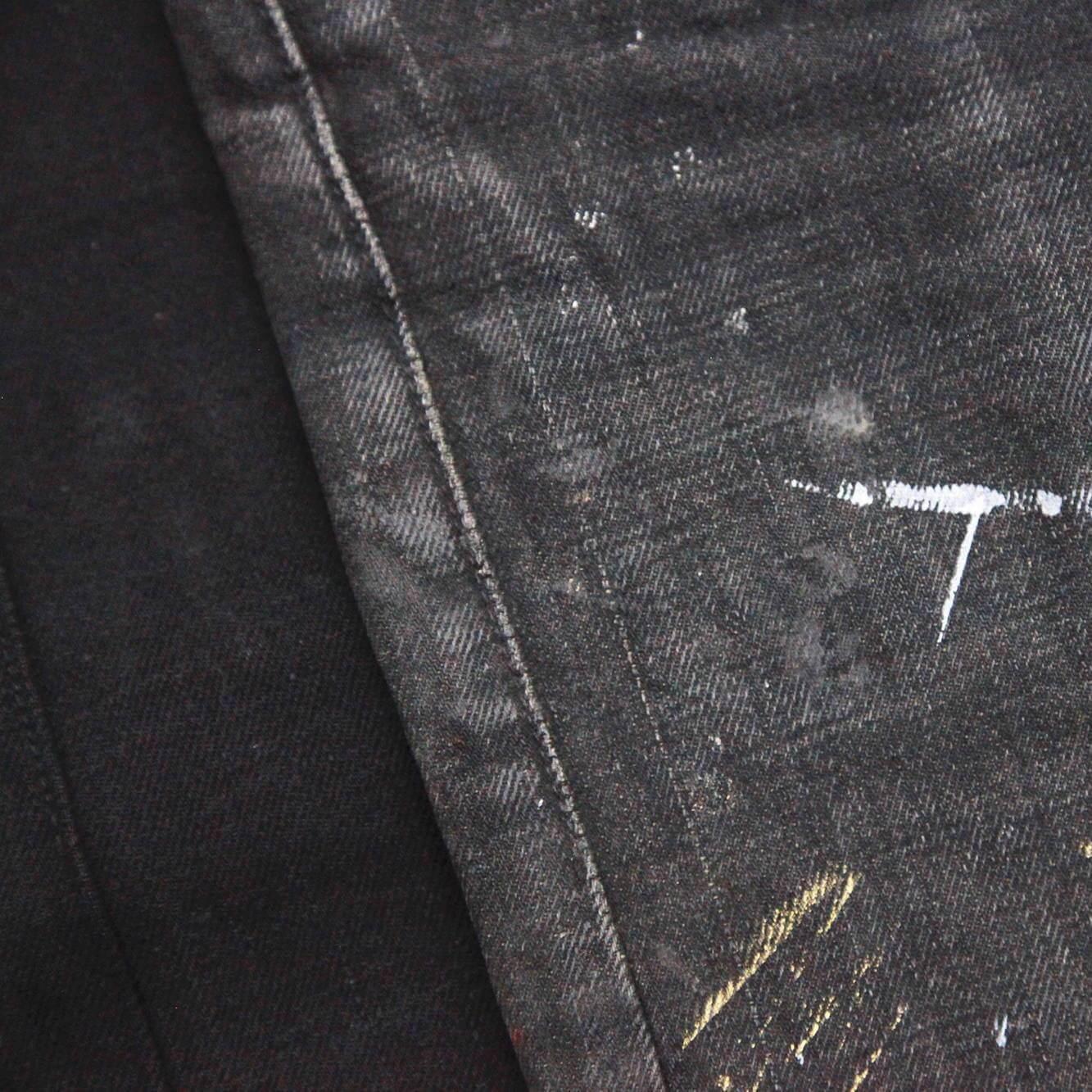 detail image of black denim