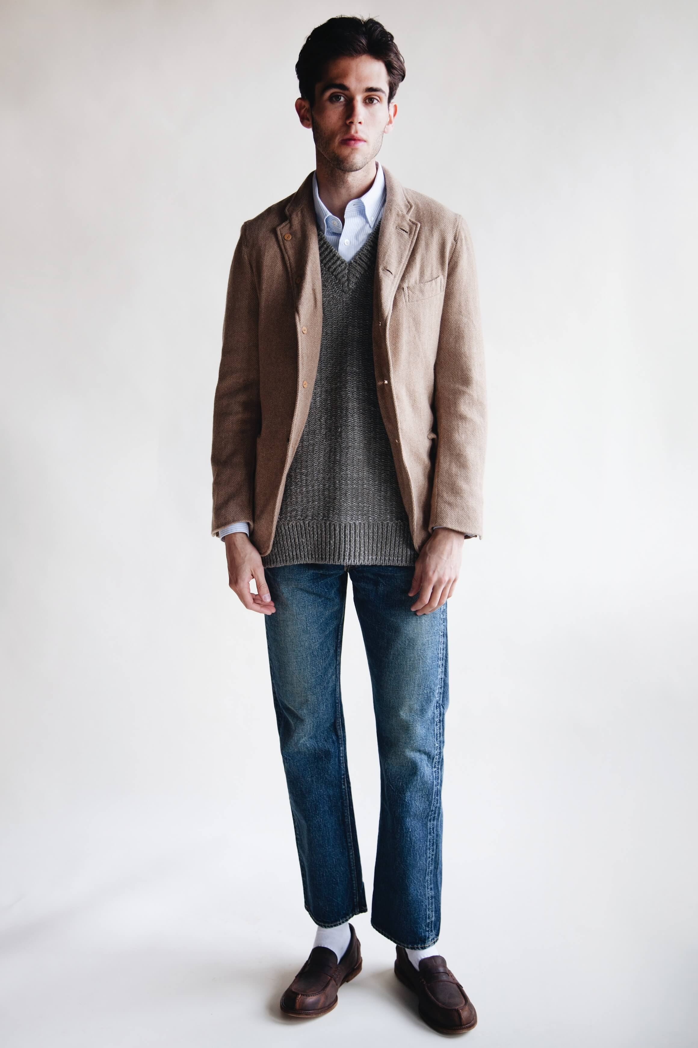 harmony paris celestin shirt, full count 1101 dartford denim and classic wool check blazer, visvim tussar v-neck vest hender scheme slouchy shoes on body