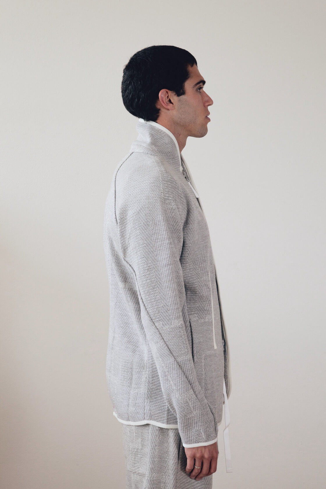 byborre suit jacket, tee and tapered crop pants on body