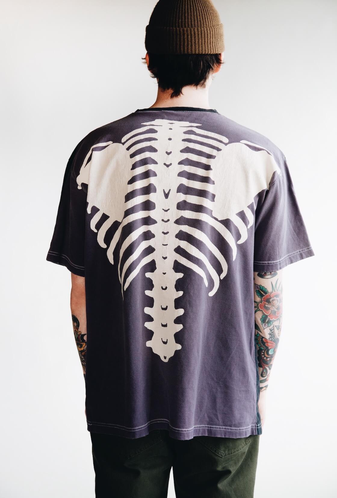 kapital kountry bones tee in purple and white on body