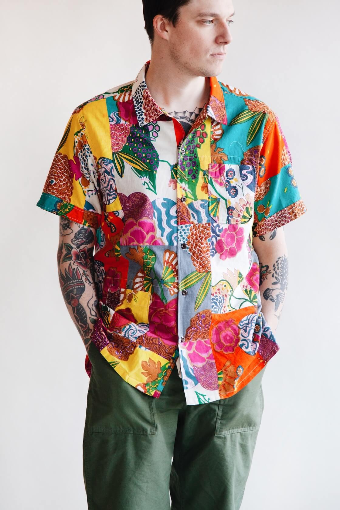engineered garments camp shirt on body