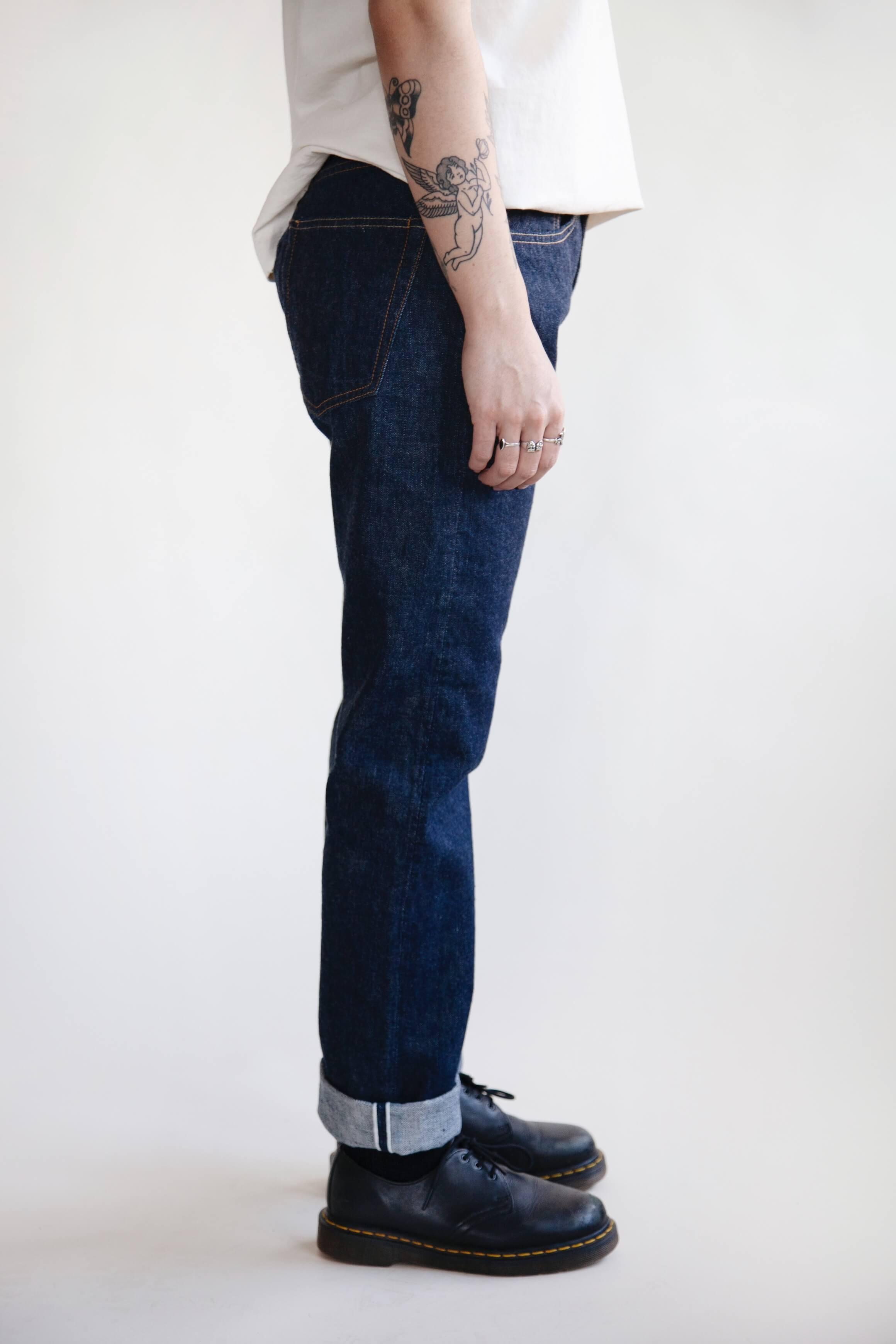 orslow 107 Ivy Denim - one wash on female model
