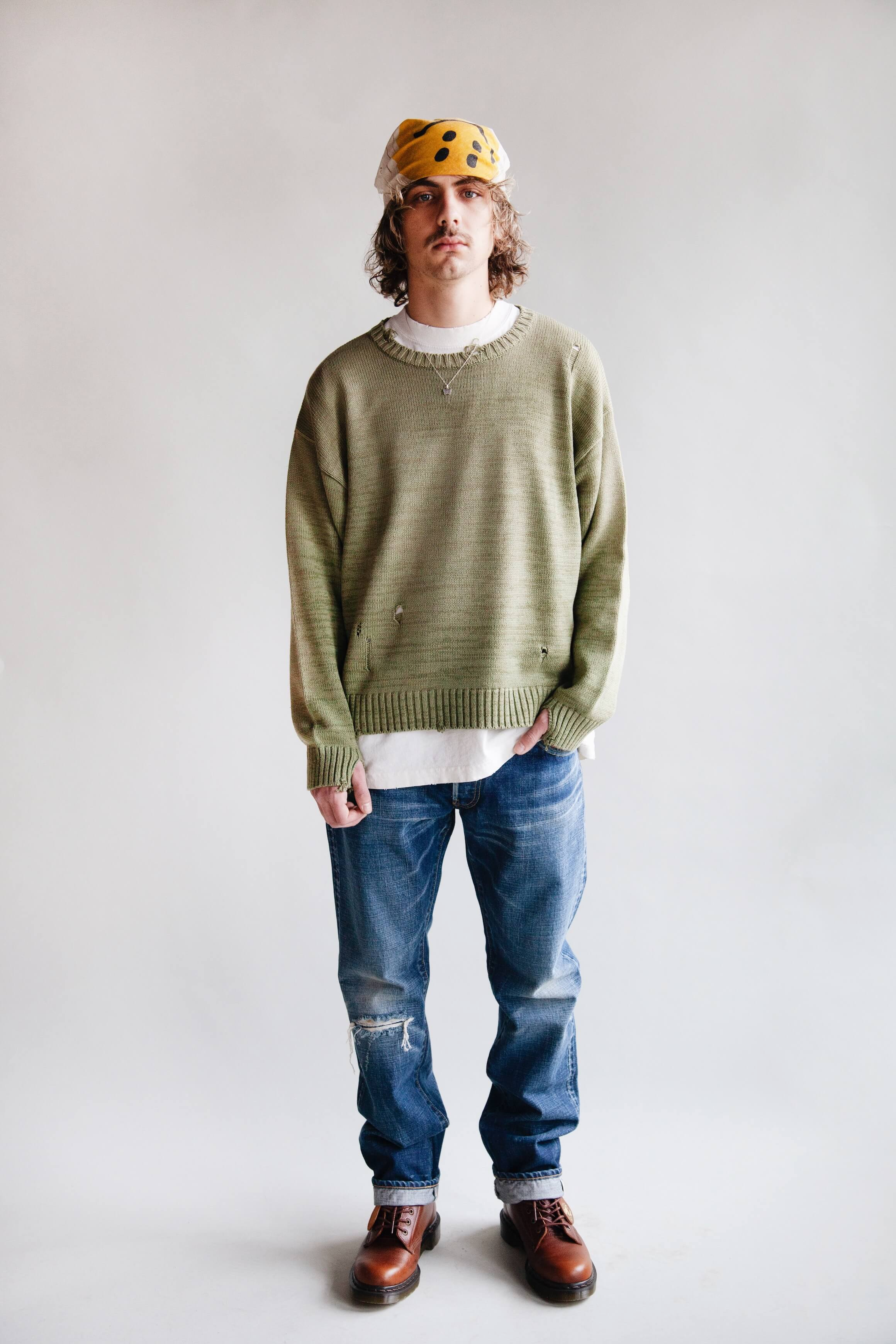 kapital clothing japan 5g cotton knit smilie crew sweater, canoe club tee, visvim social sculpture 10 jeans and dr. martens 1460 boots made in england on body
