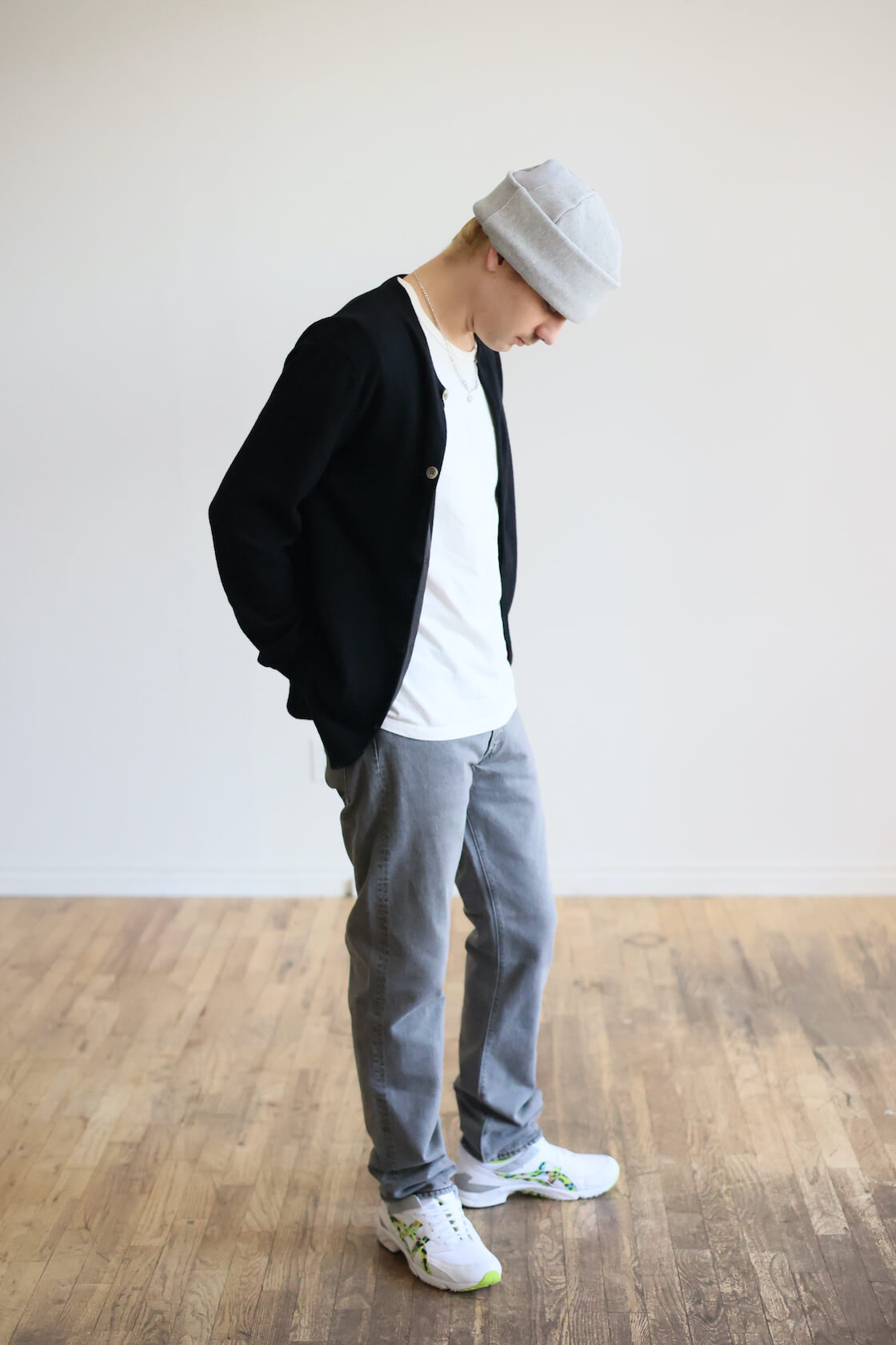 cableami 30/7 sweat cap, comme des garcons shirt crewneck cardigan, orslow 107 ivy denim, and cdg shirt x asics tarther sneakers on body