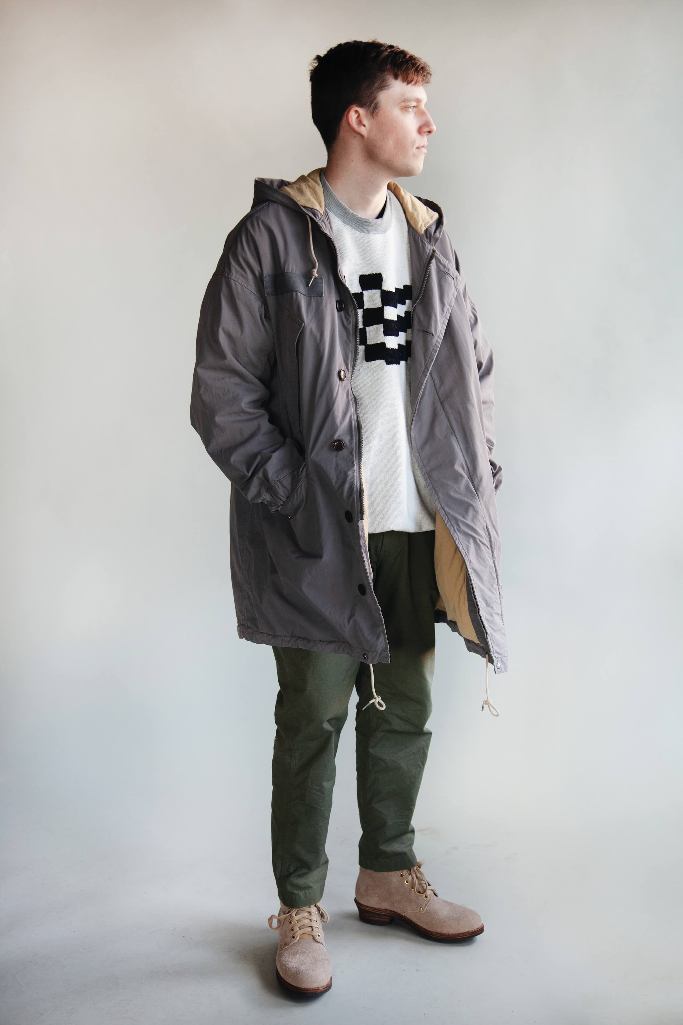 visvim patterson overcoat, checkered embroidered sweatshirt from noma td, orslow new yorker pants and visvim brigadier boots on body