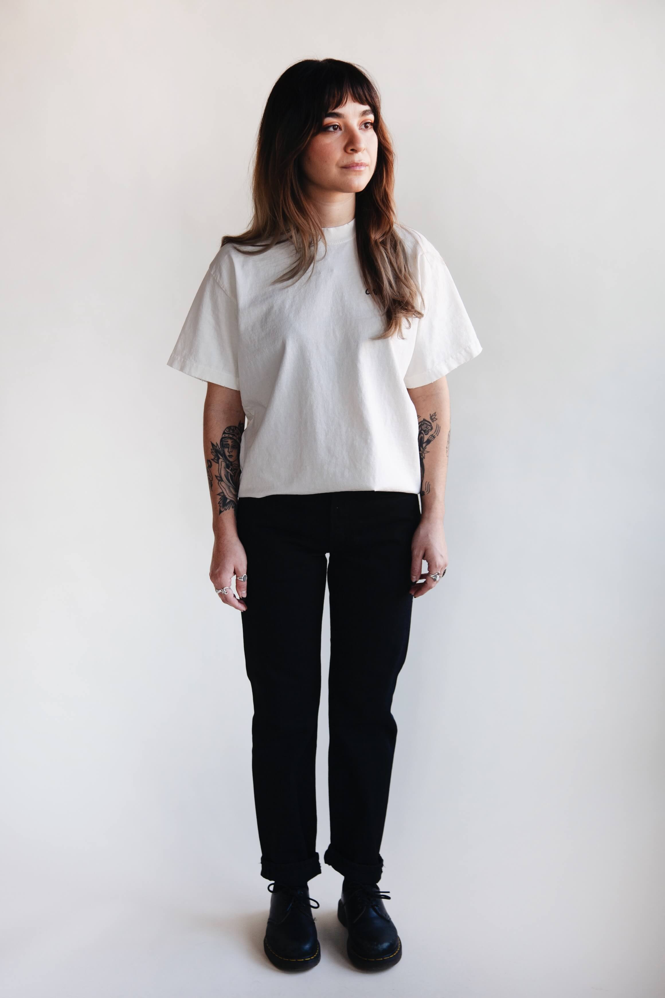orslow 107 Ivy Denim - Black on female model