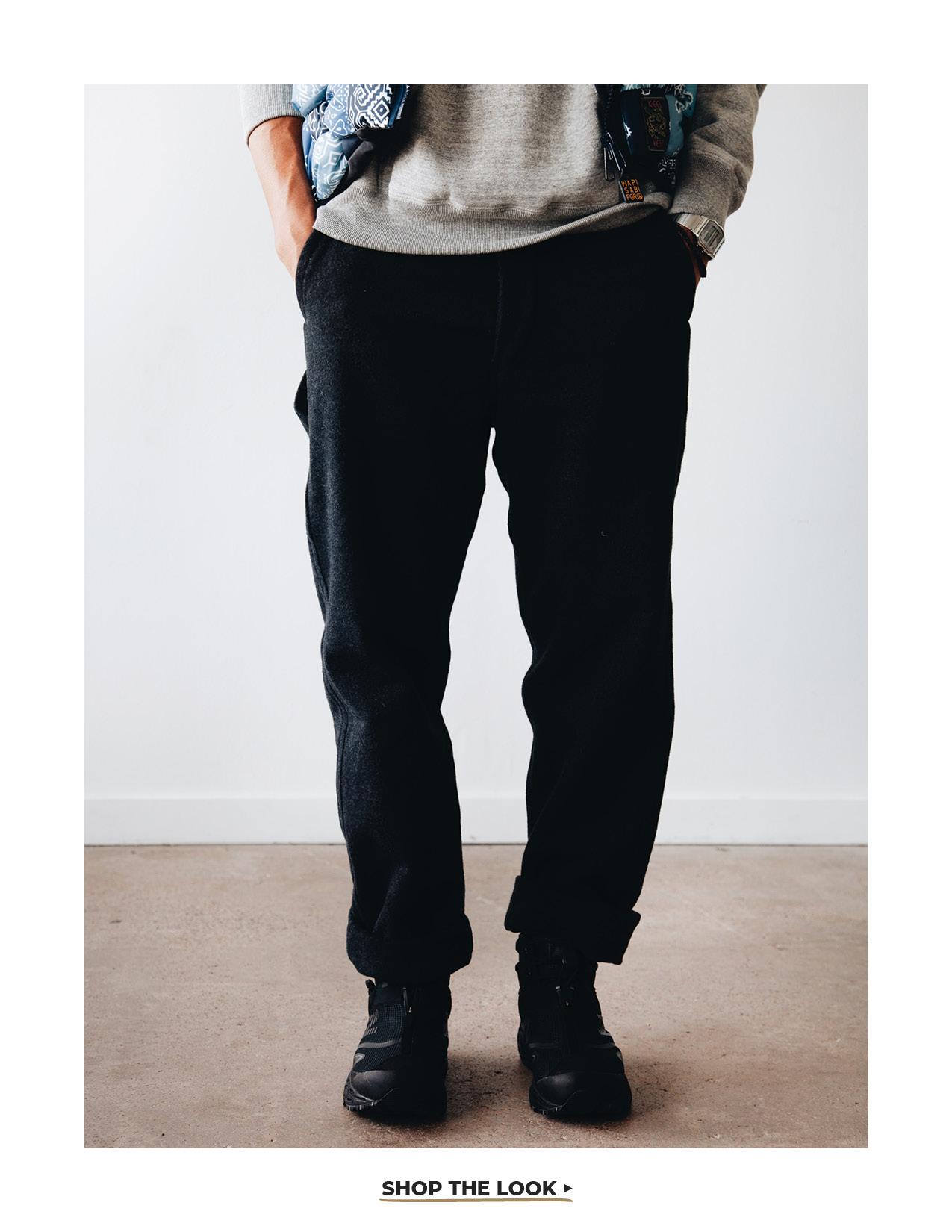 kapital bandana print nylon keel-weaving vest, orslow hooded sweatshirt, orslow french work pants, and new balance tokyo design studio niobium boots on body
