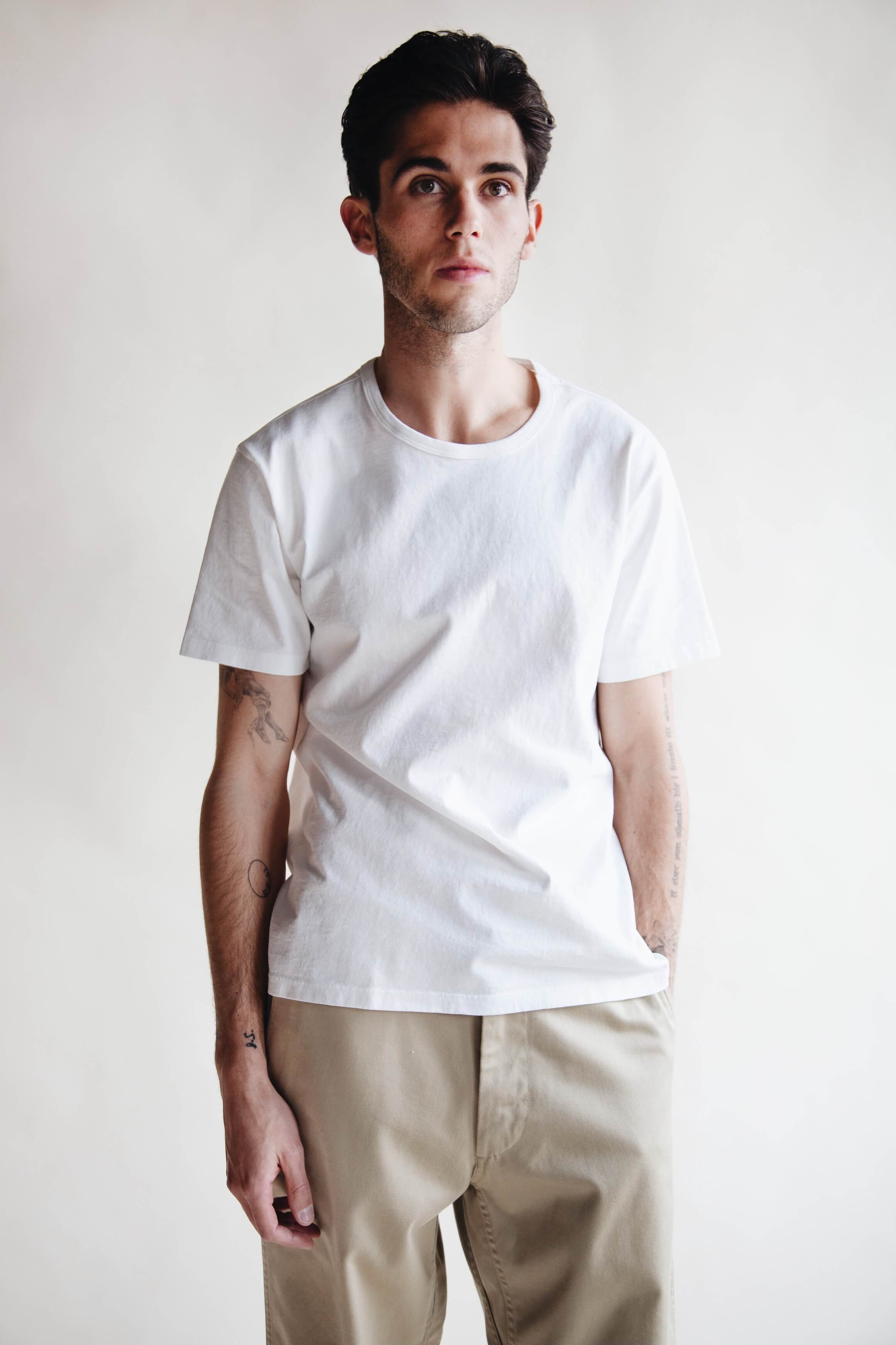 lady white co. white tee, nanamica wide chinos and visvim corda on body folk sneakers