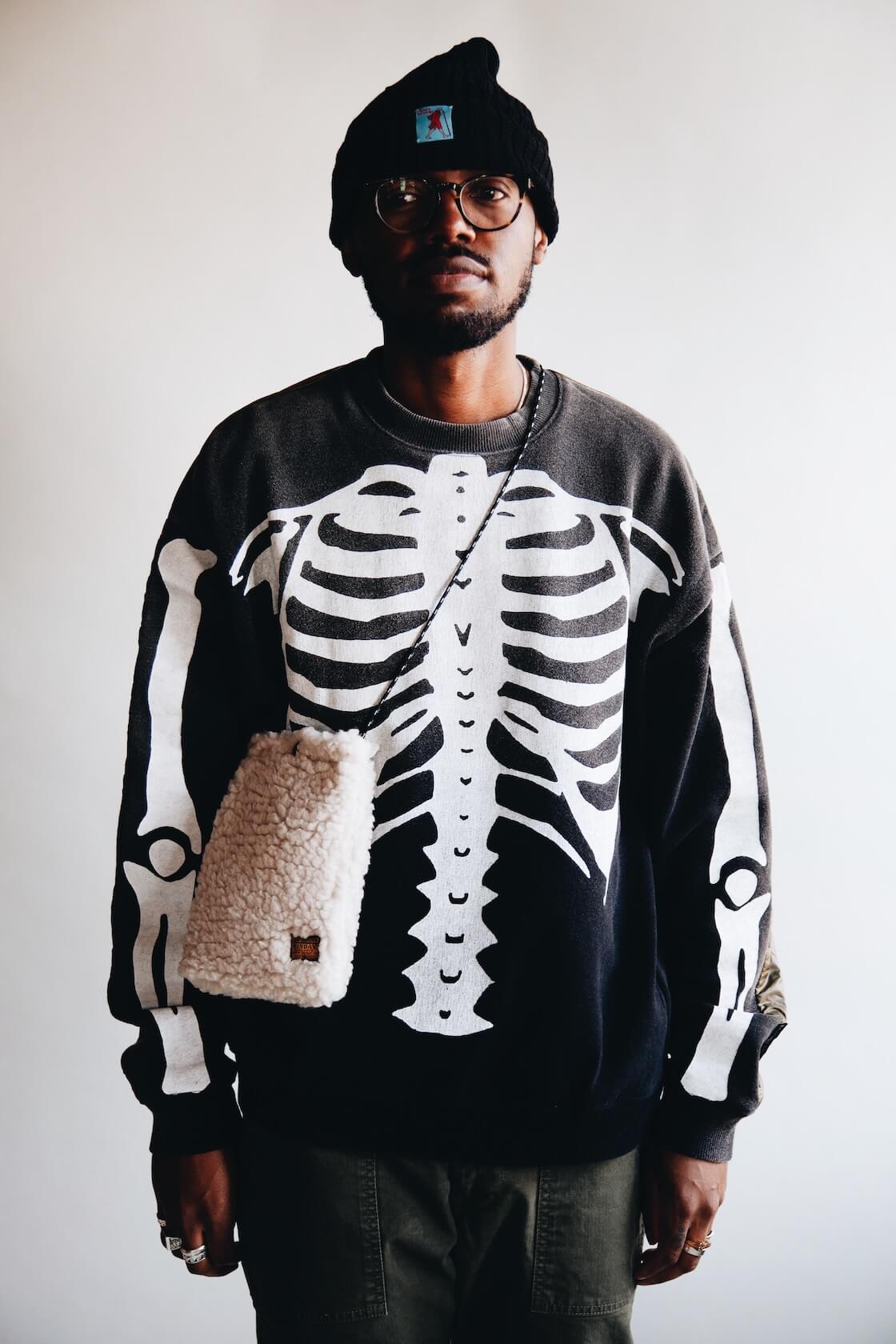kapital kountry quilted bones sweatshirt on body