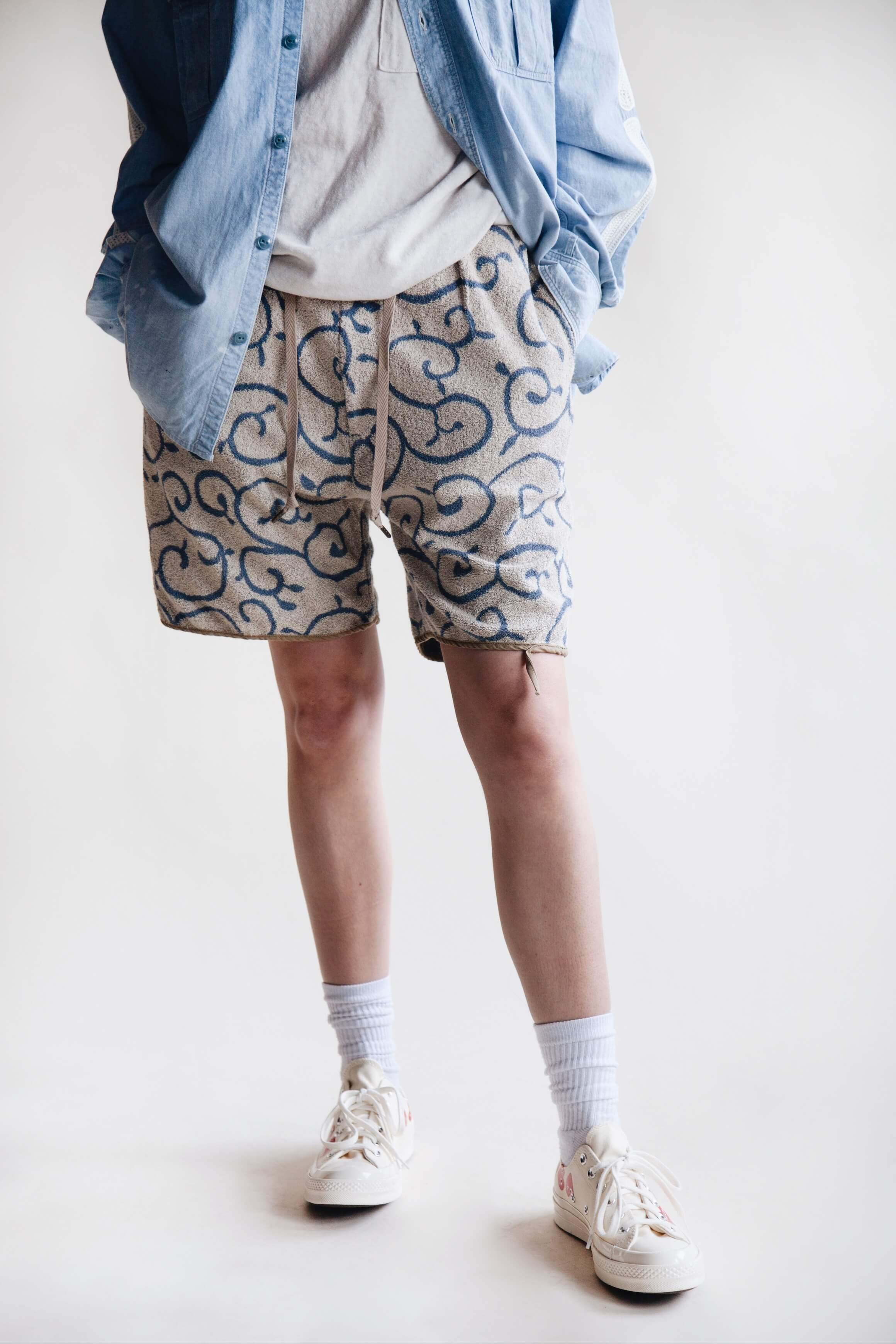 kapital clothing japan chambray work shirt bone embroidery, gauze jersey crew pocket tee, irago pile karakusa shorts and comme des garcons play x converse shoes on body