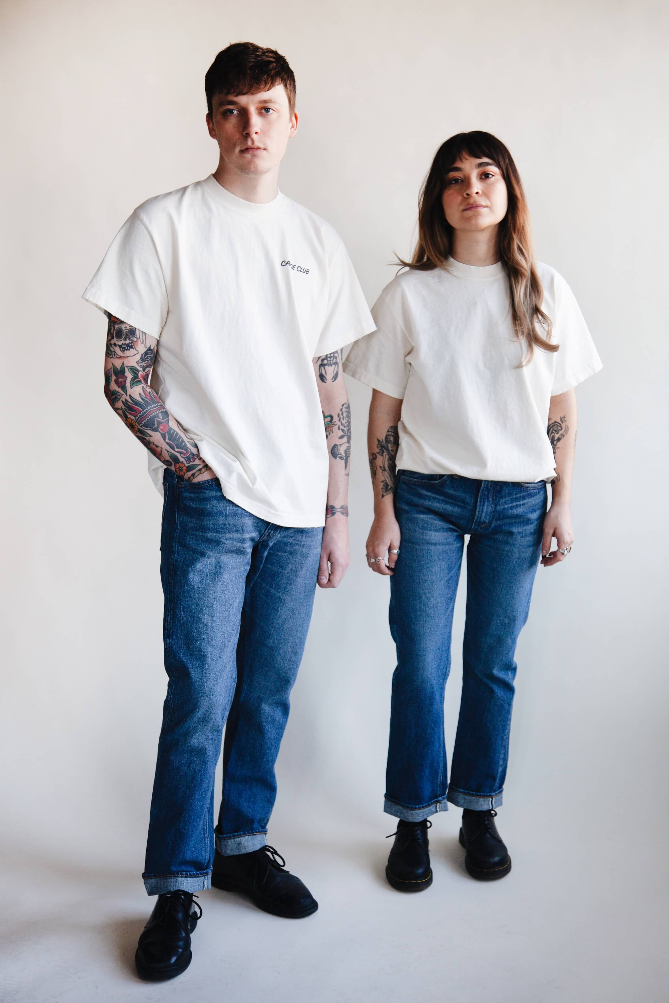 orslow 107 Ivy Denim - 2 year Wash on male and female models