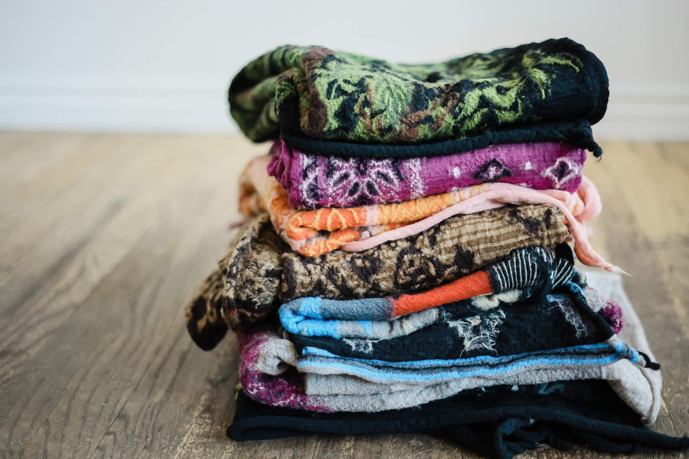 stack of kapital compressed wool scarves