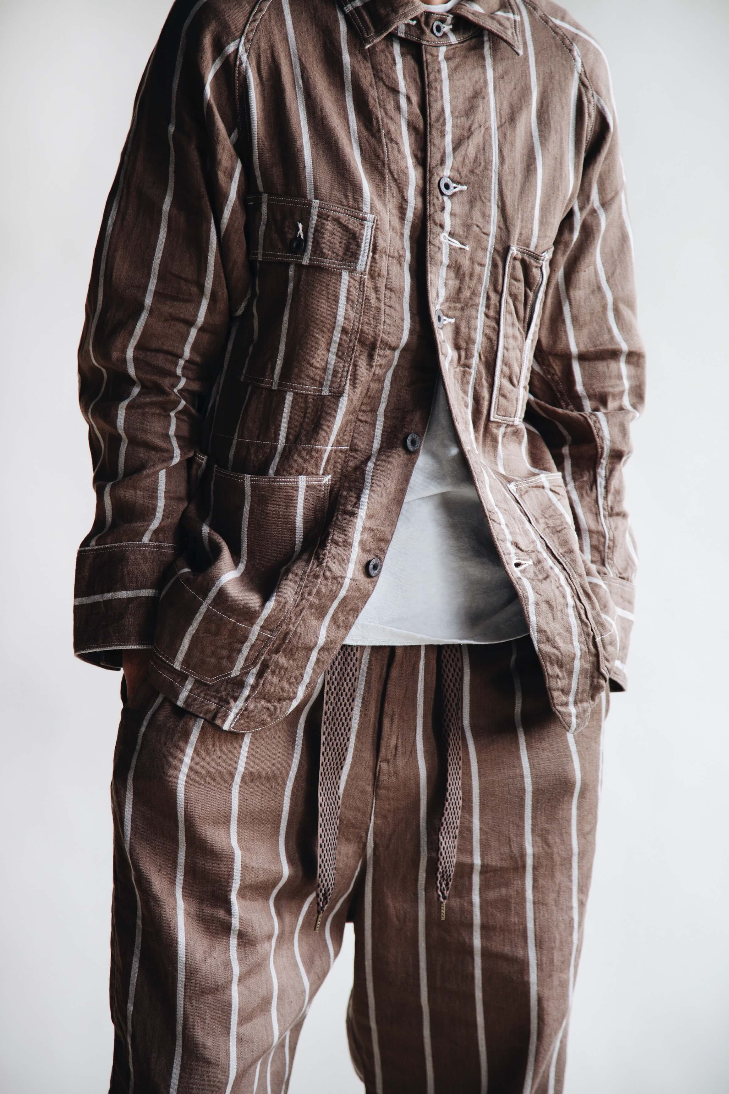 kapital clothing japan linen phillies stripe cactus coverall and easy pants with visvim skagway shoes on body