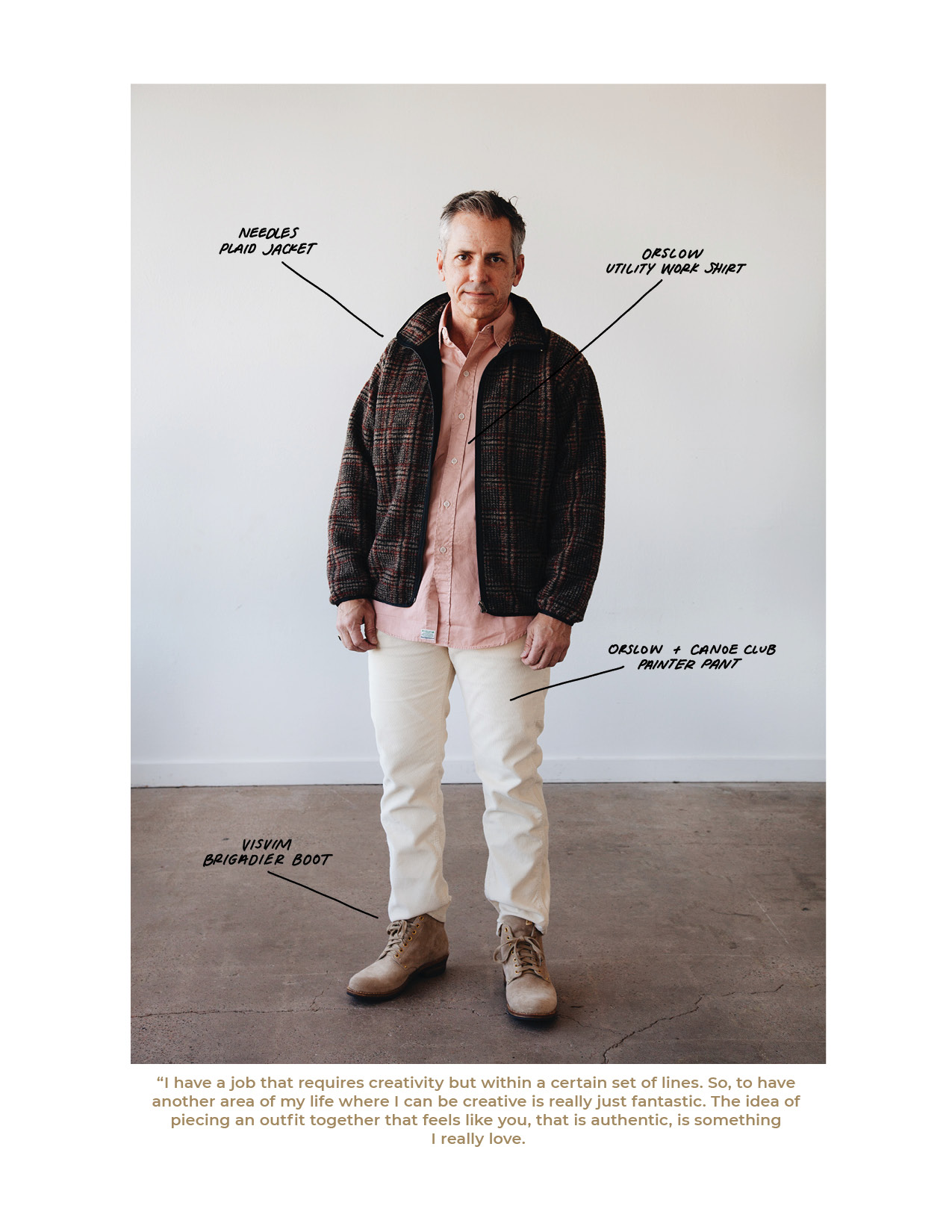 needles plaid jacket, orslow utility work shirt, canoe club x orslow painter pant, and visvim brigadier boots on body