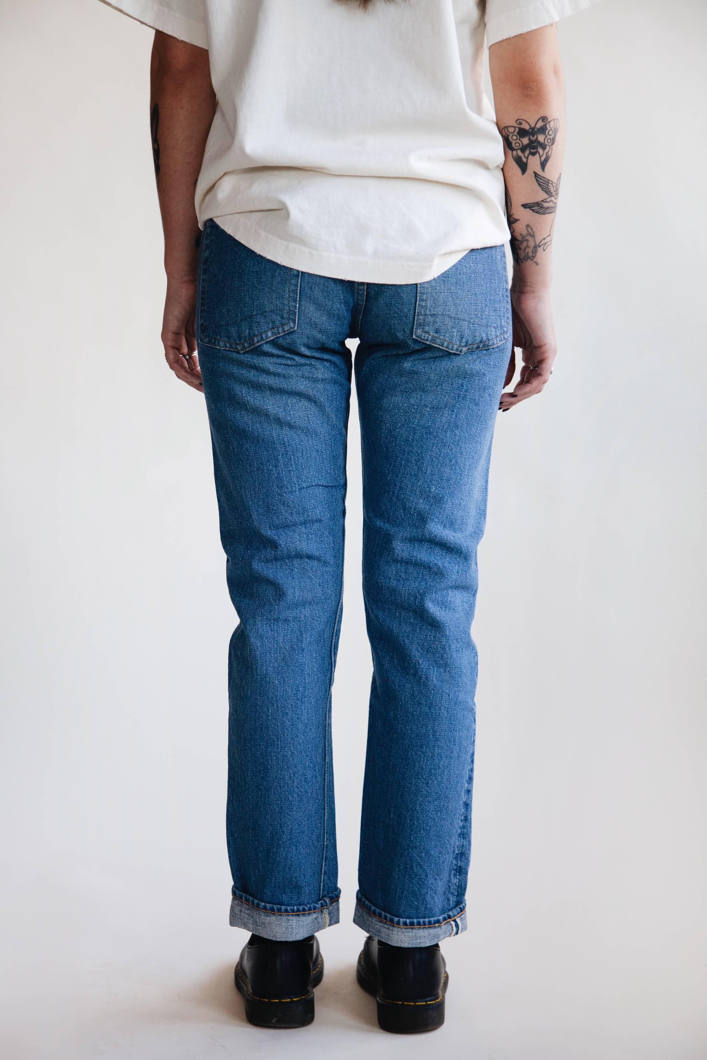 orslow 107 Ivy Denim - 2 year Wash on female model