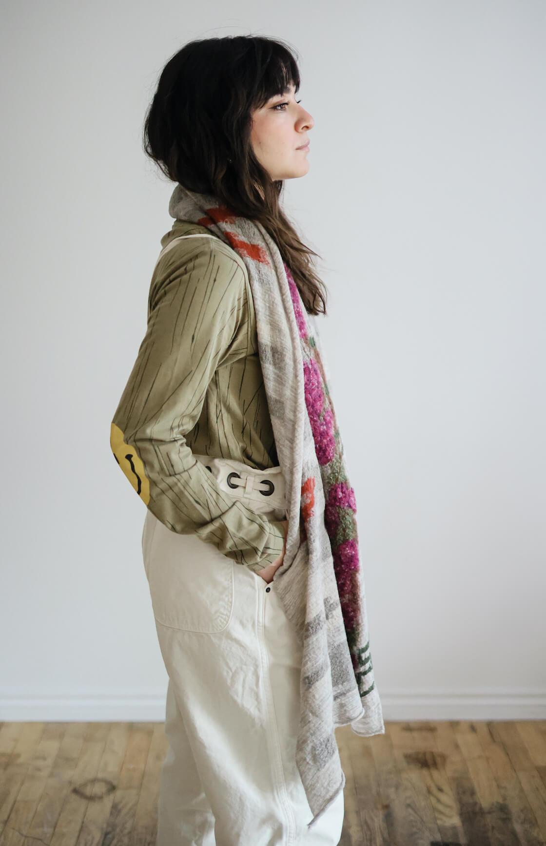 kapital compressed wool scarf on body