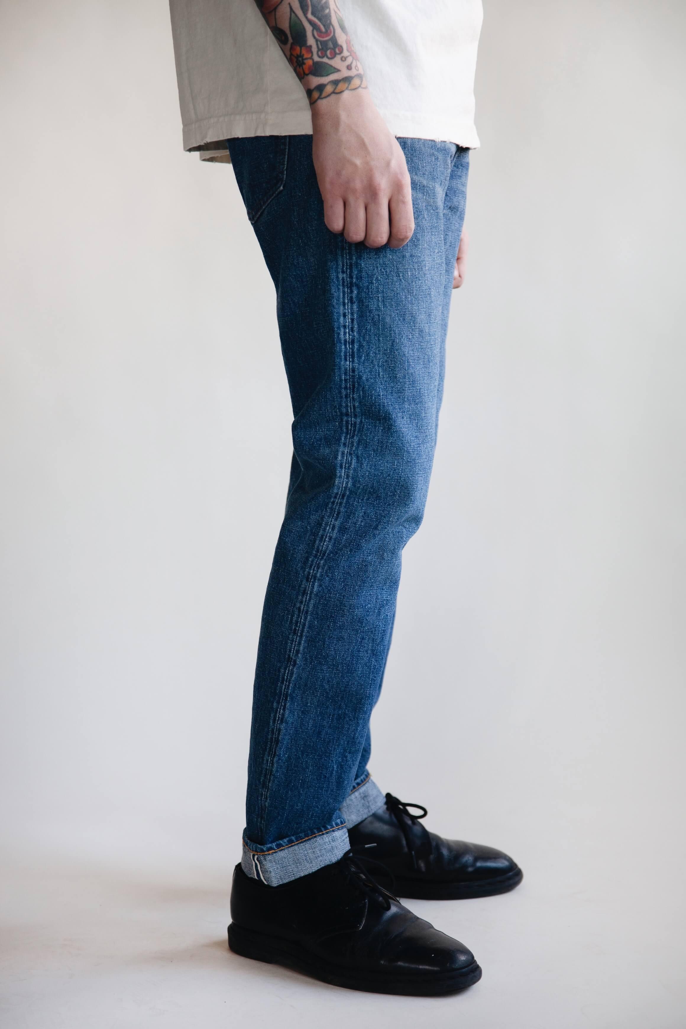 orslow 107 Ivy Denim - 2 year Wash on male model