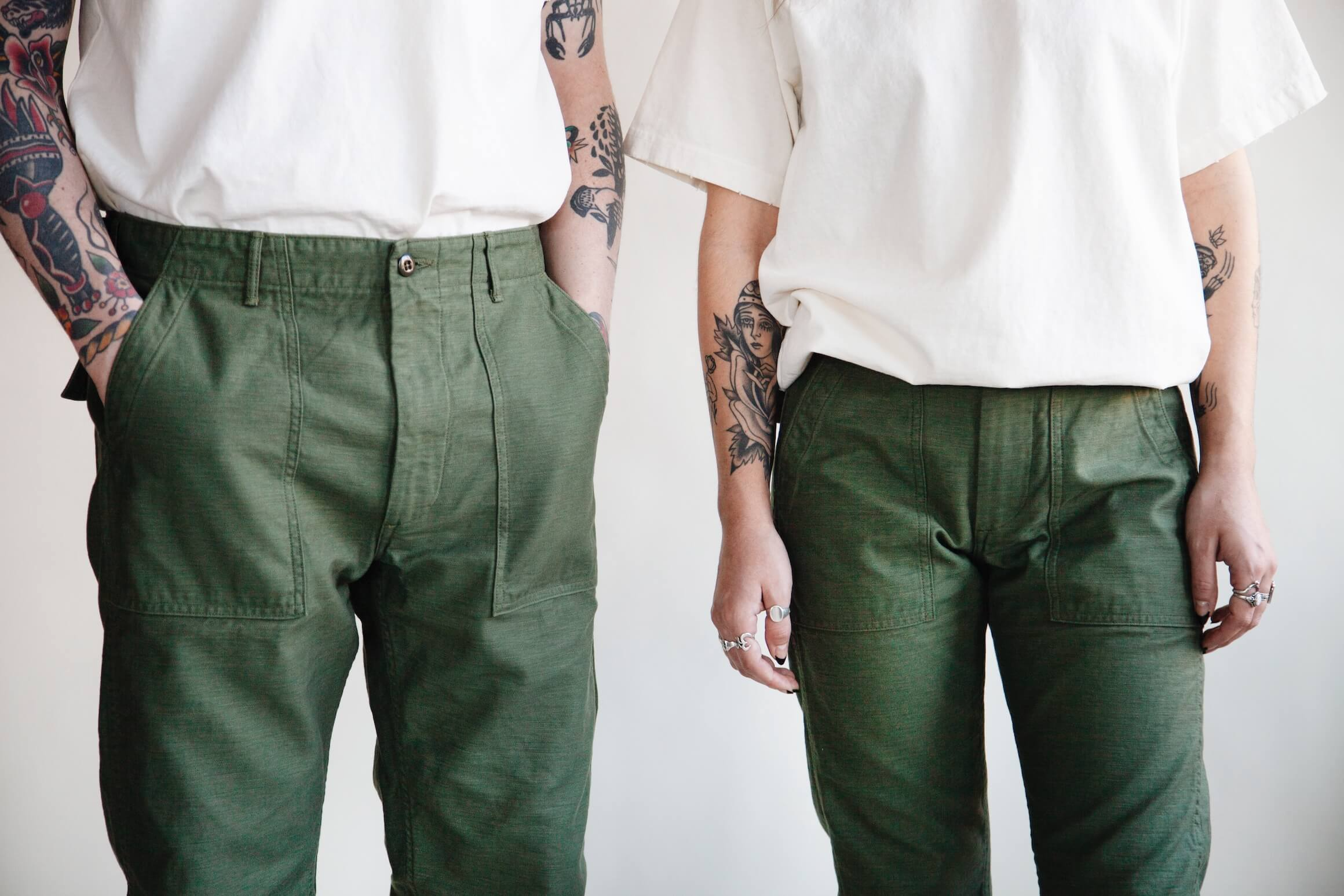 orslow Slim Fit Fatigue Pants - Olive Reverse Sateen on male and female models