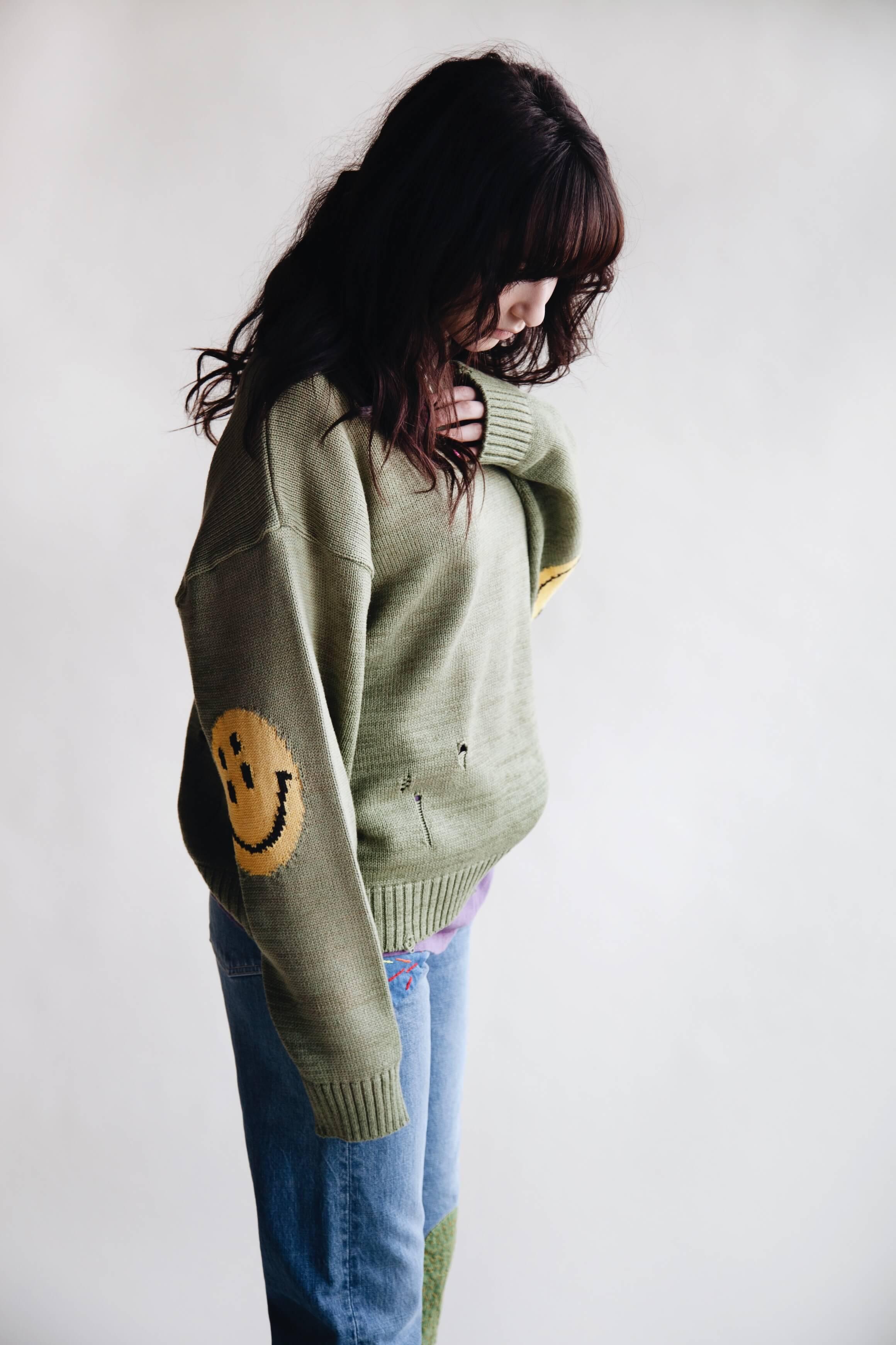 Kapital clothing japan 5g cotton knit smilie patch crew sweater, gauze jersey crew pocket tee, 14oz denim 5p monkey cisco jeans on body