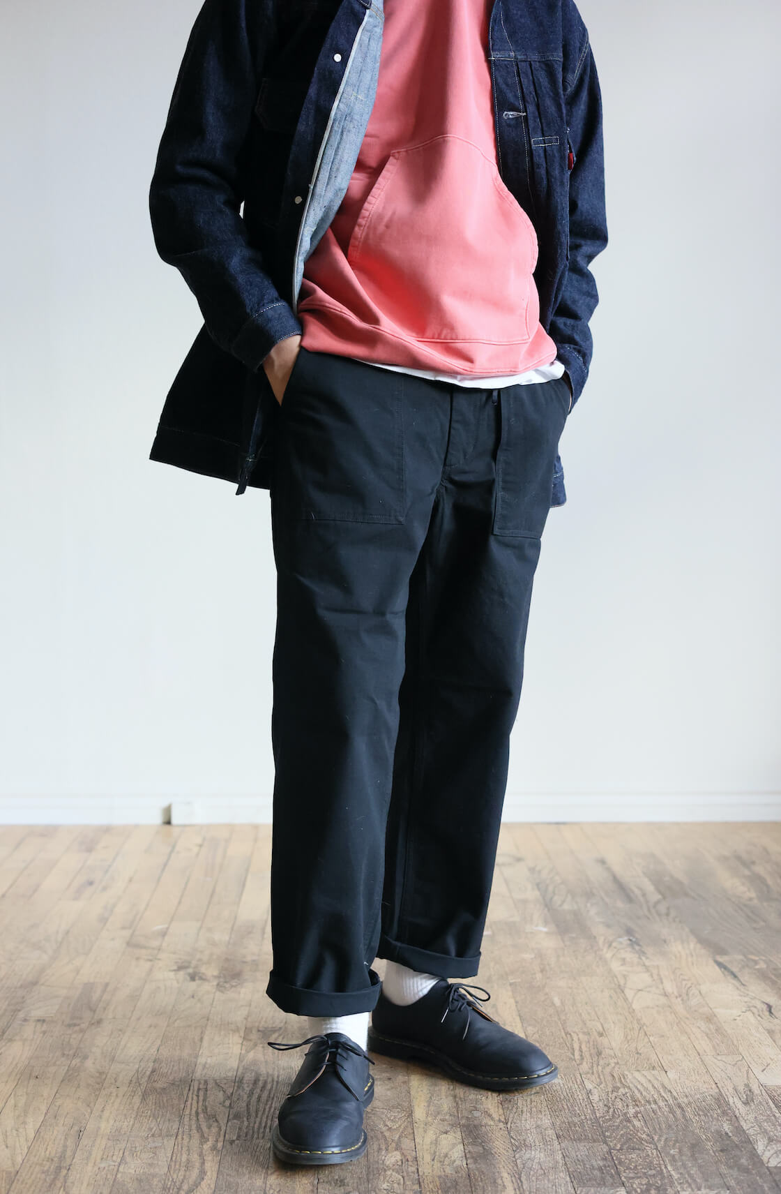lvc type II long jacket, lady white x canoe club super weighted hoodie, Engineered garments fatigue pant, dr. martens x jjjjound archie II shoes on body